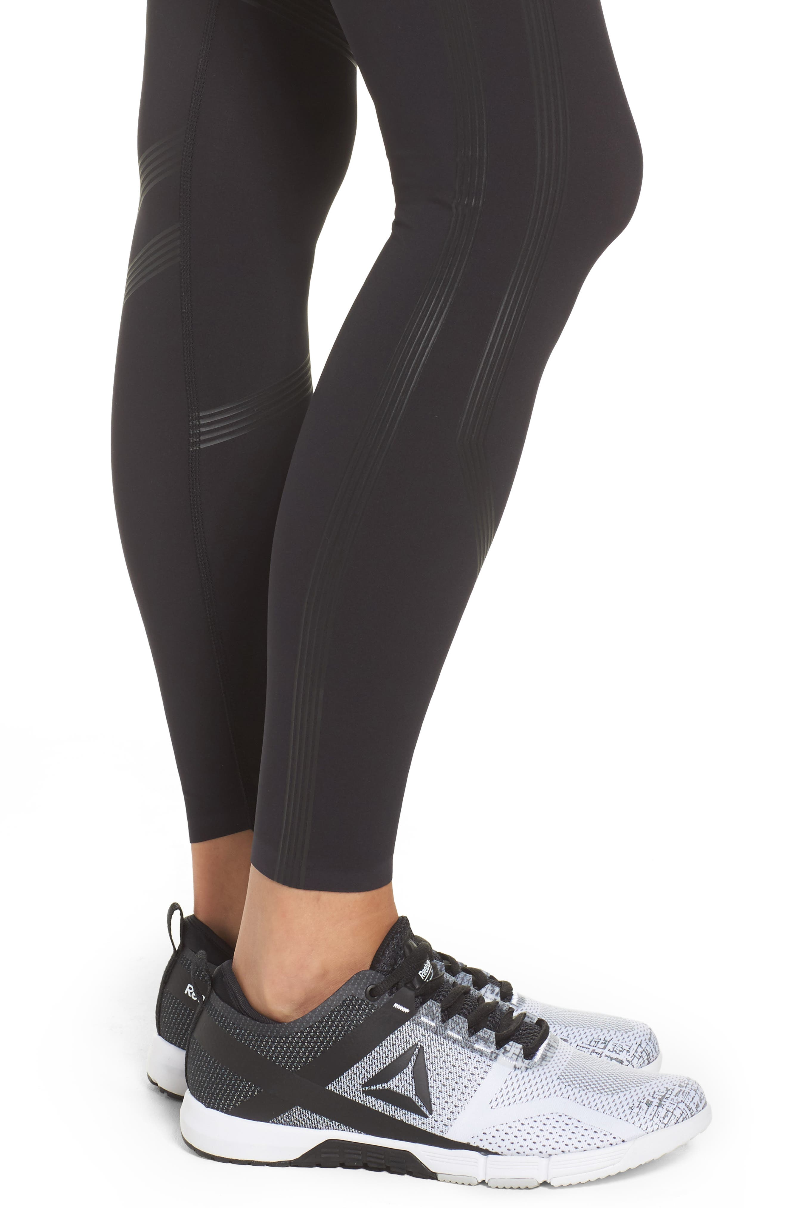 Linear High Rise Performance Tights,                             Alternate thumbnail 4, color,                             Black