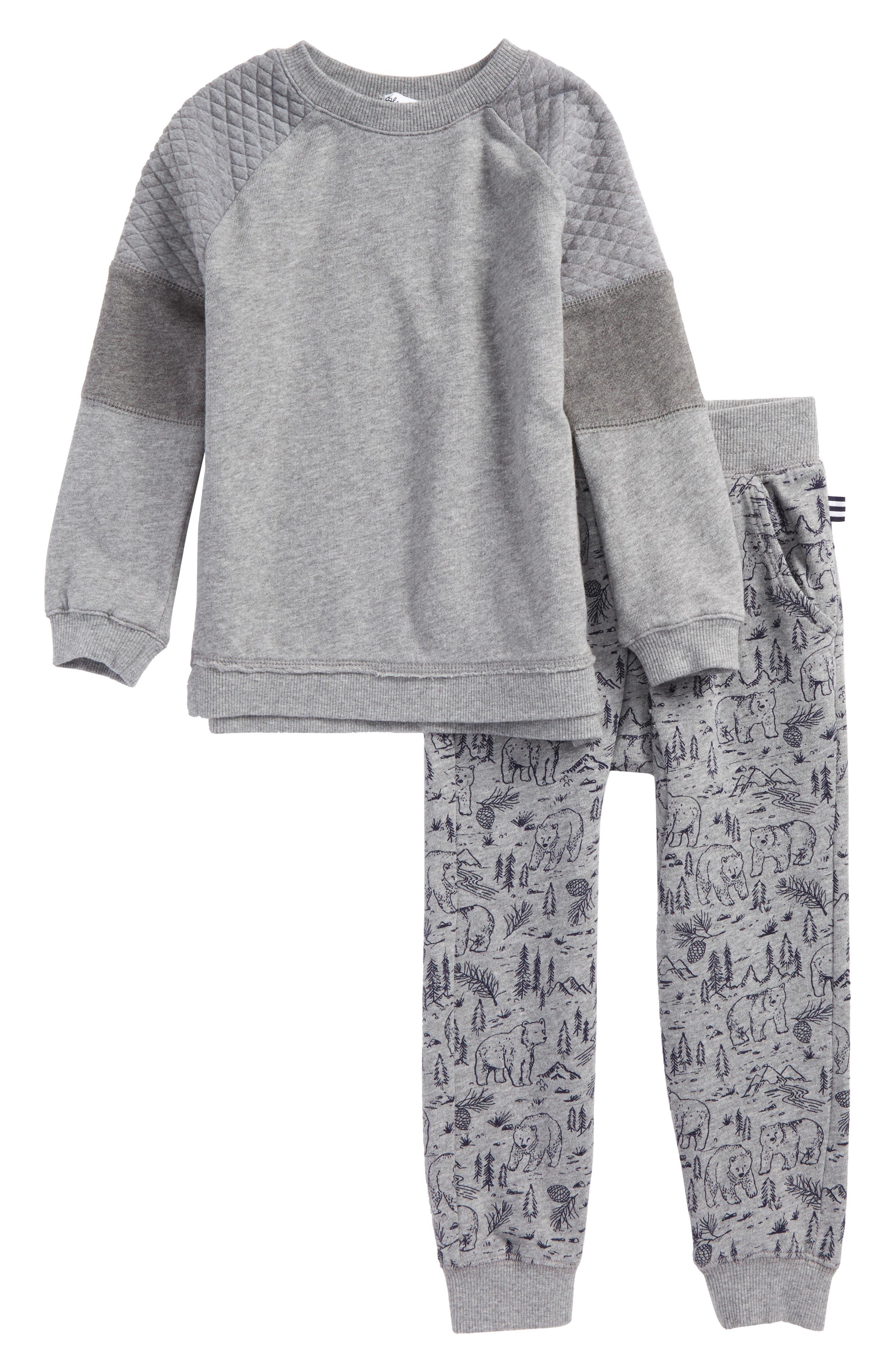 Sweatshirt & Print Sweatpants Set,                         Main,                         color, Grey Heather