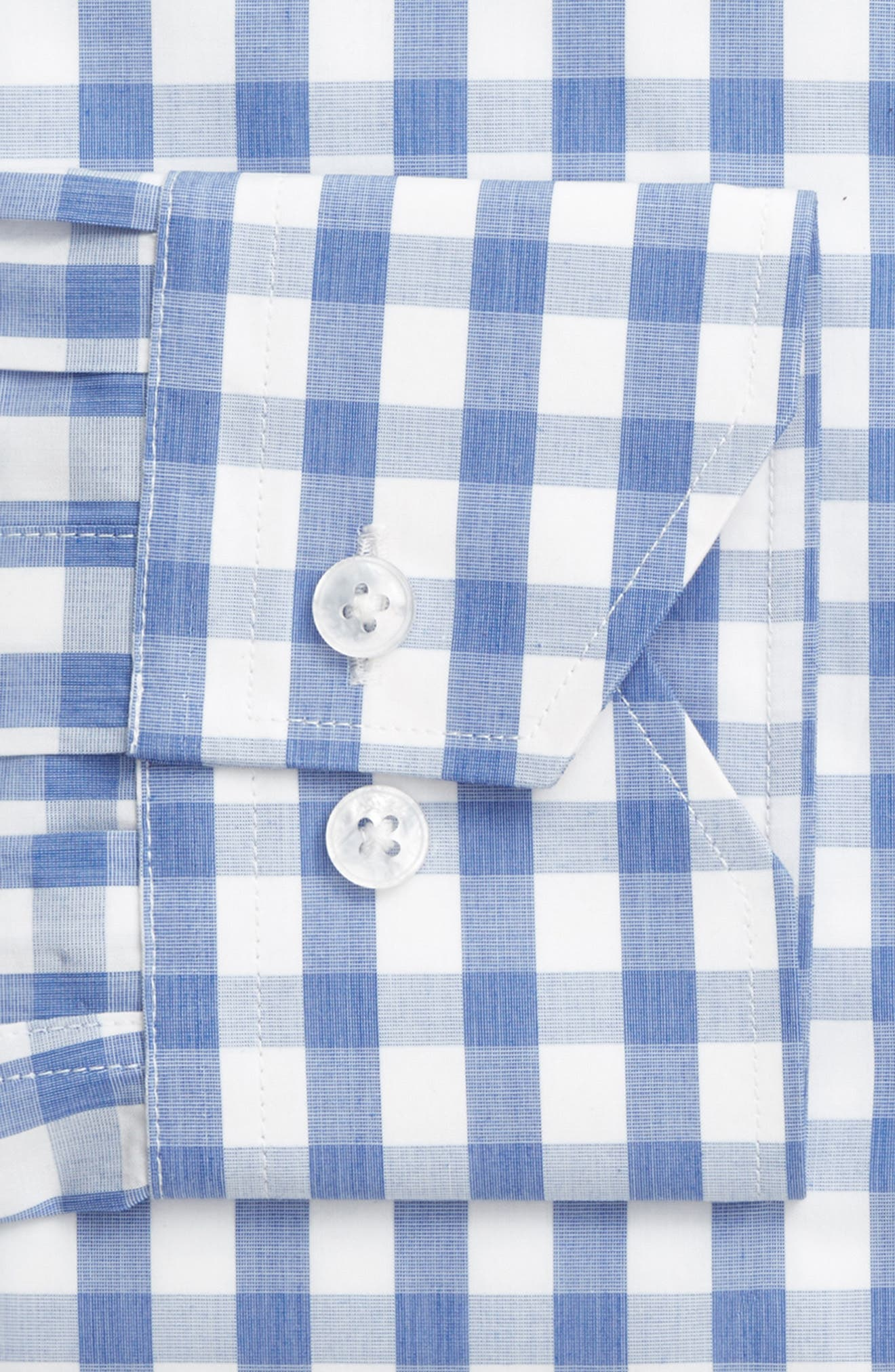 Trim Fit Check Dress Shirt,                             Alternate thumbnail 3, color,                             Light Blue