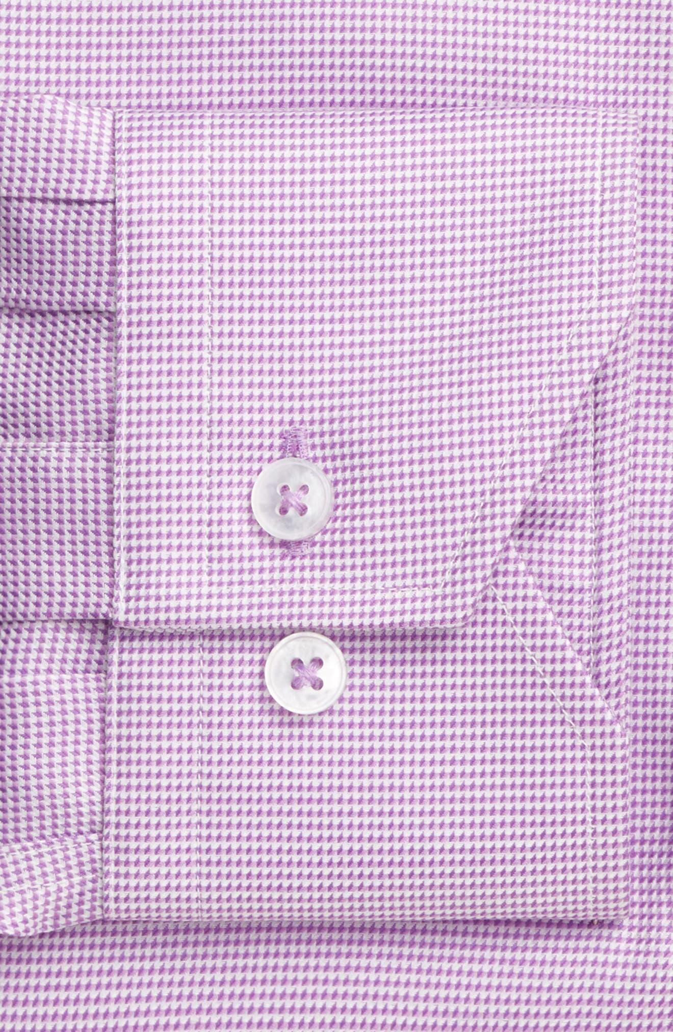 Trim Fit Houndstooth Dress Shirt,                             Alternate thumbnail 3, color,                             Lavender