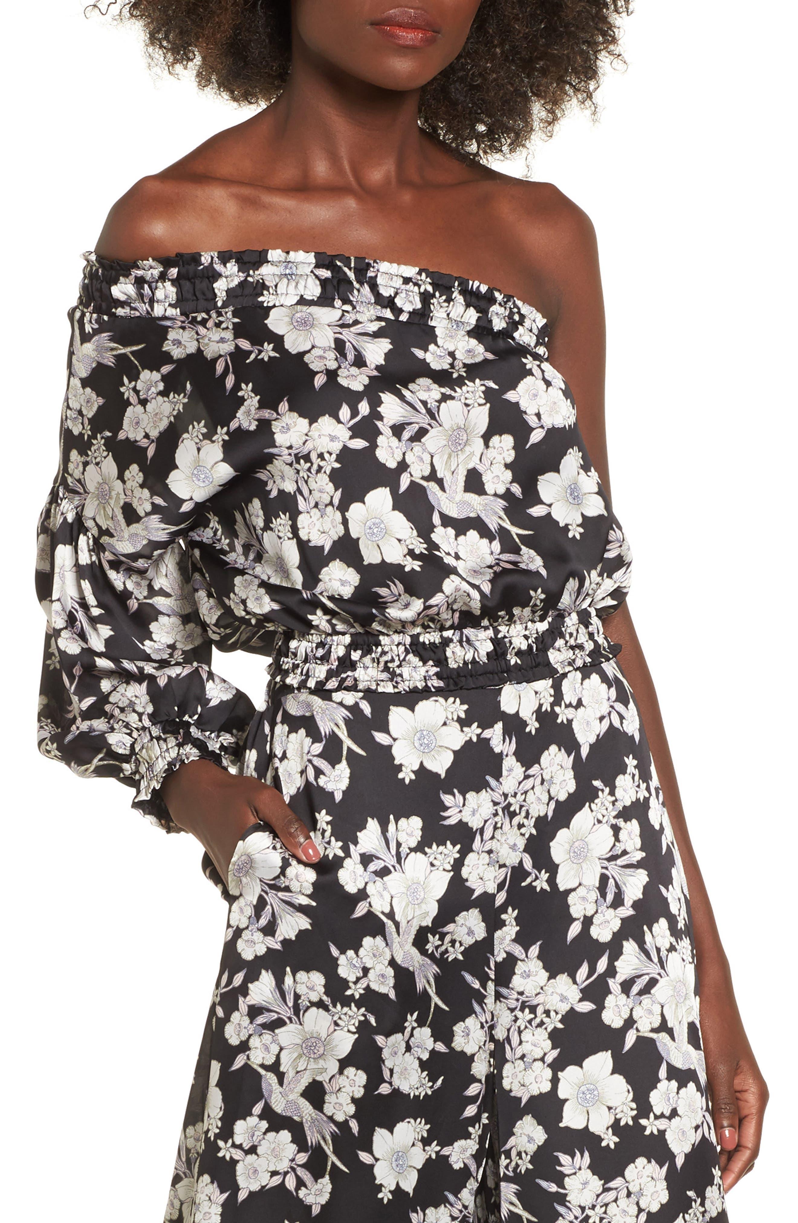 Birdee One Shoulder Crop Top,                         Main,                         color, Black Floral