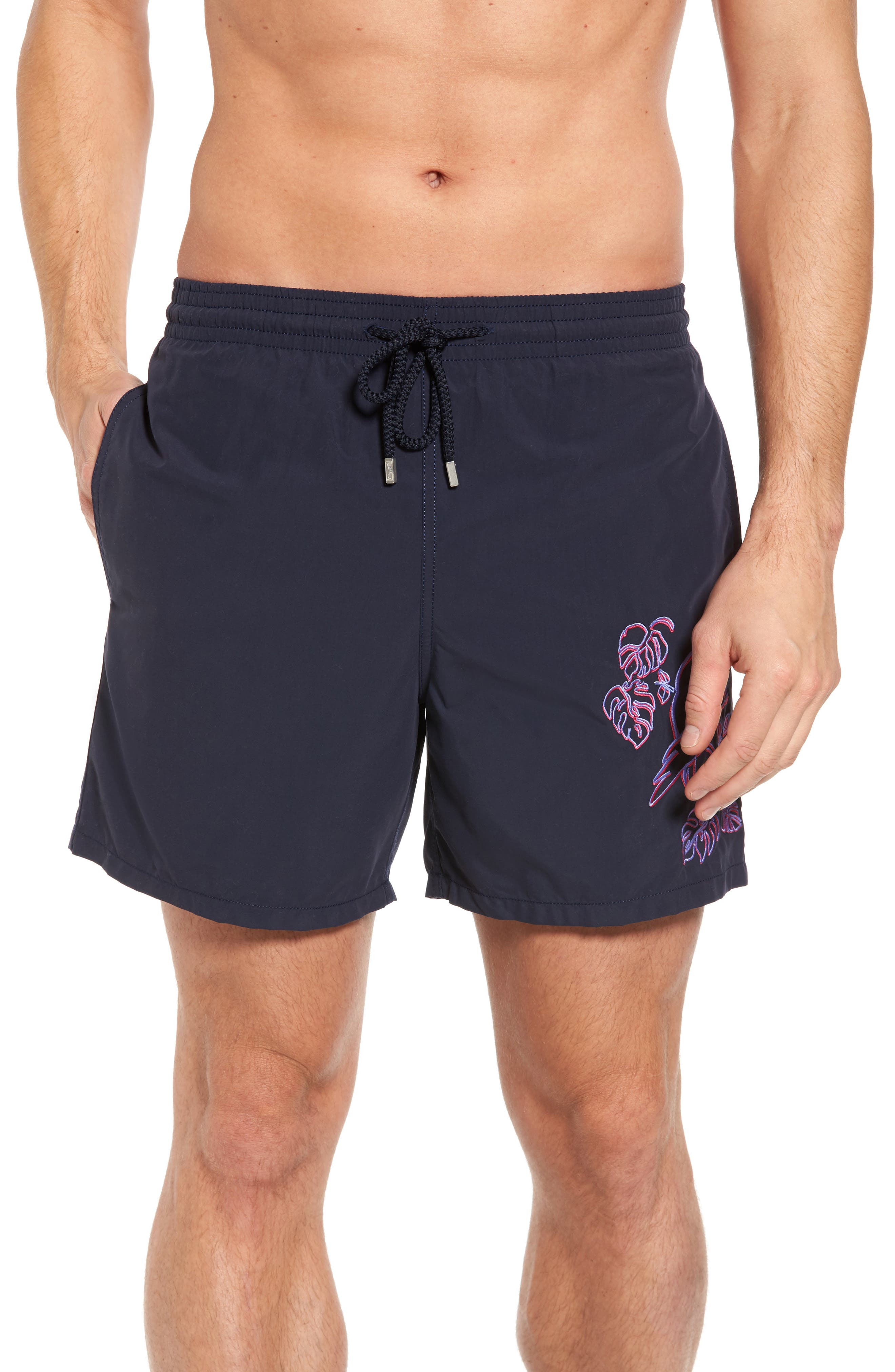 Embroidered Cockatoo Swim Trunks,                         Main,                         color, Navy