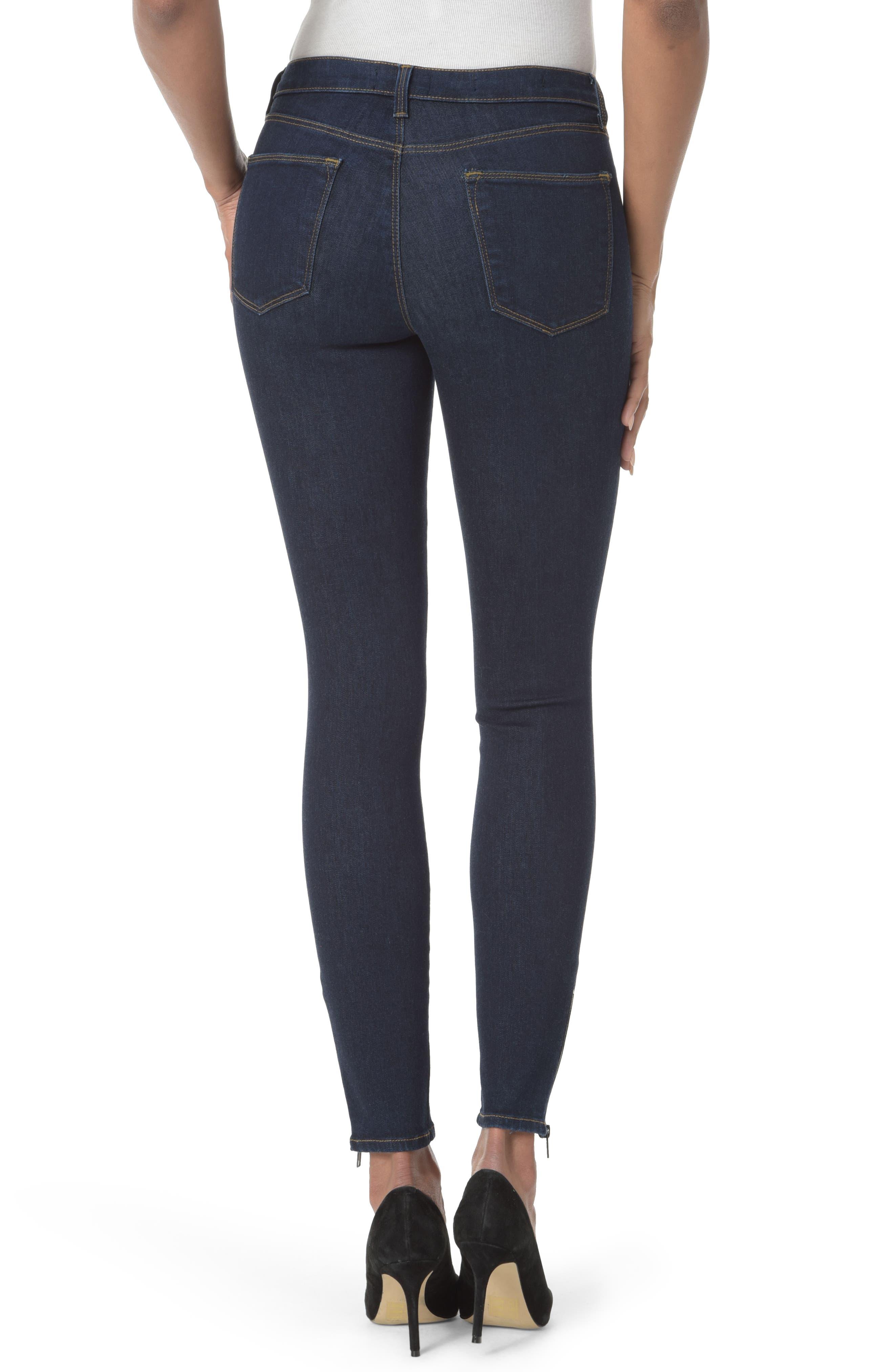 Dylan Ankle Zipper Hem Skinny Jeans,                             Alternate thumbnail 2, color,                             Rinse