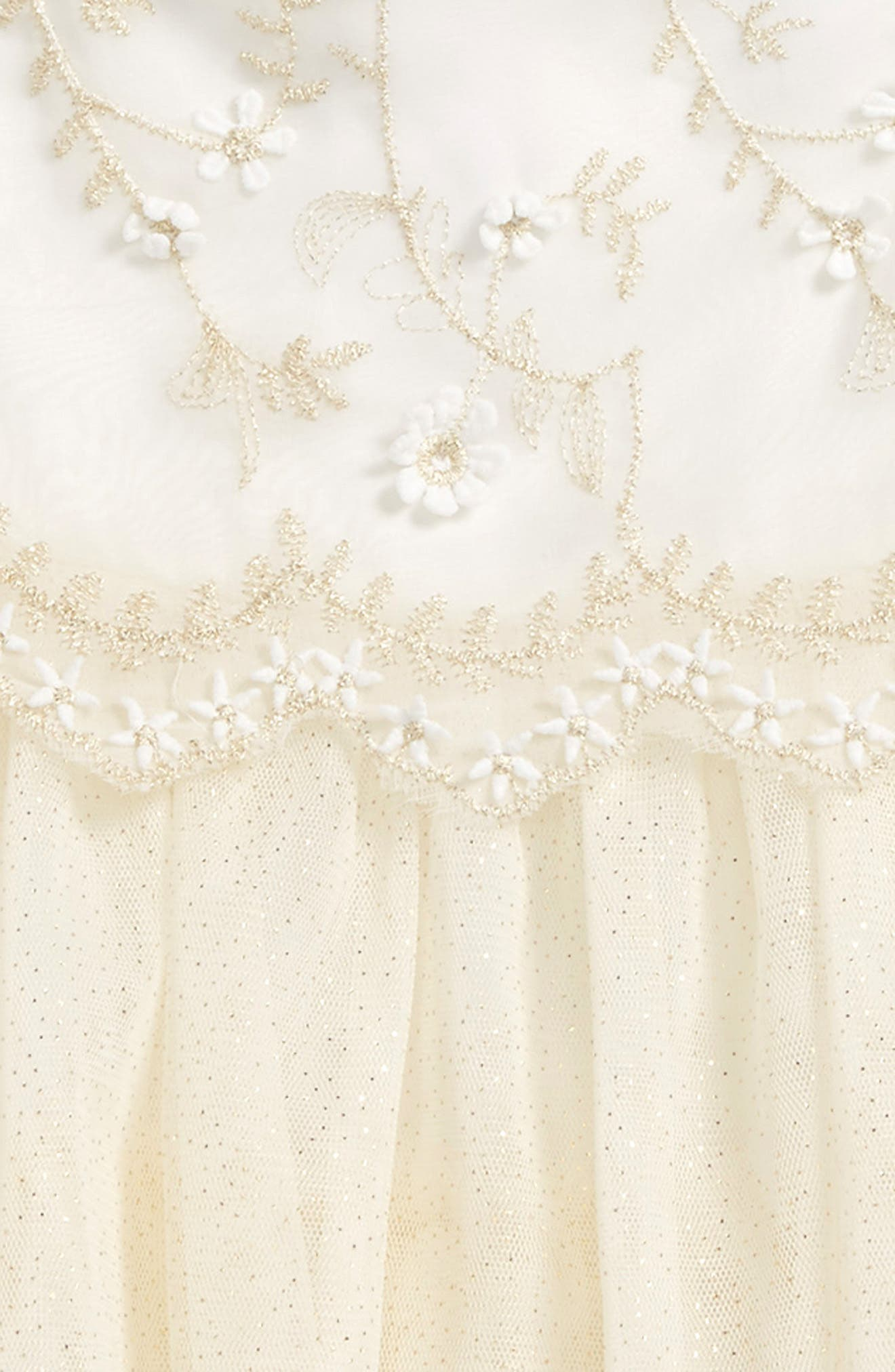 Embroidered Tulle Dress,                             Alternate thumbnail 2, color,                             Cream