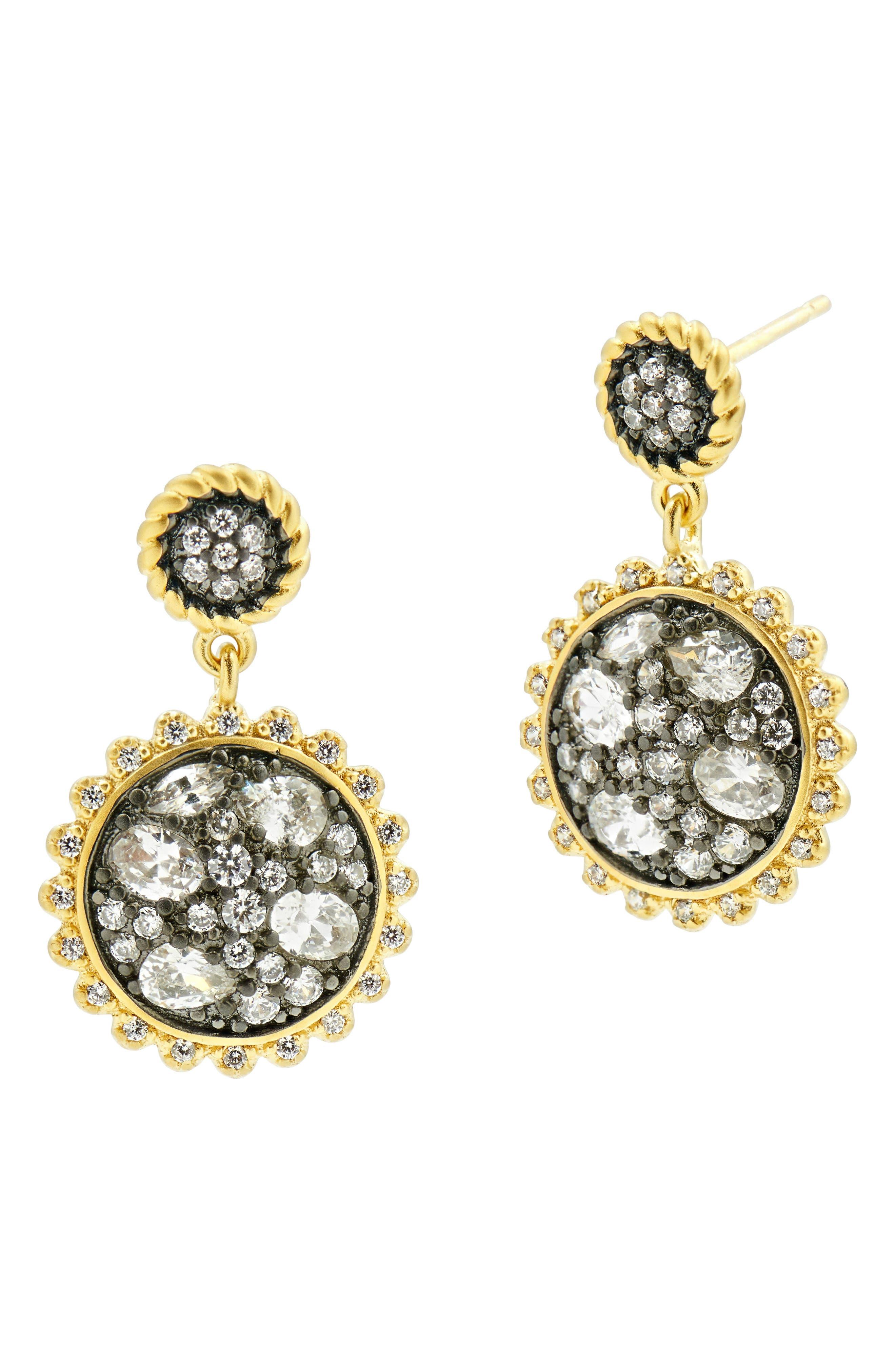 Main Image - FREIDA ROTHMAN Gilded Cable Pebble Small Stone Earrings