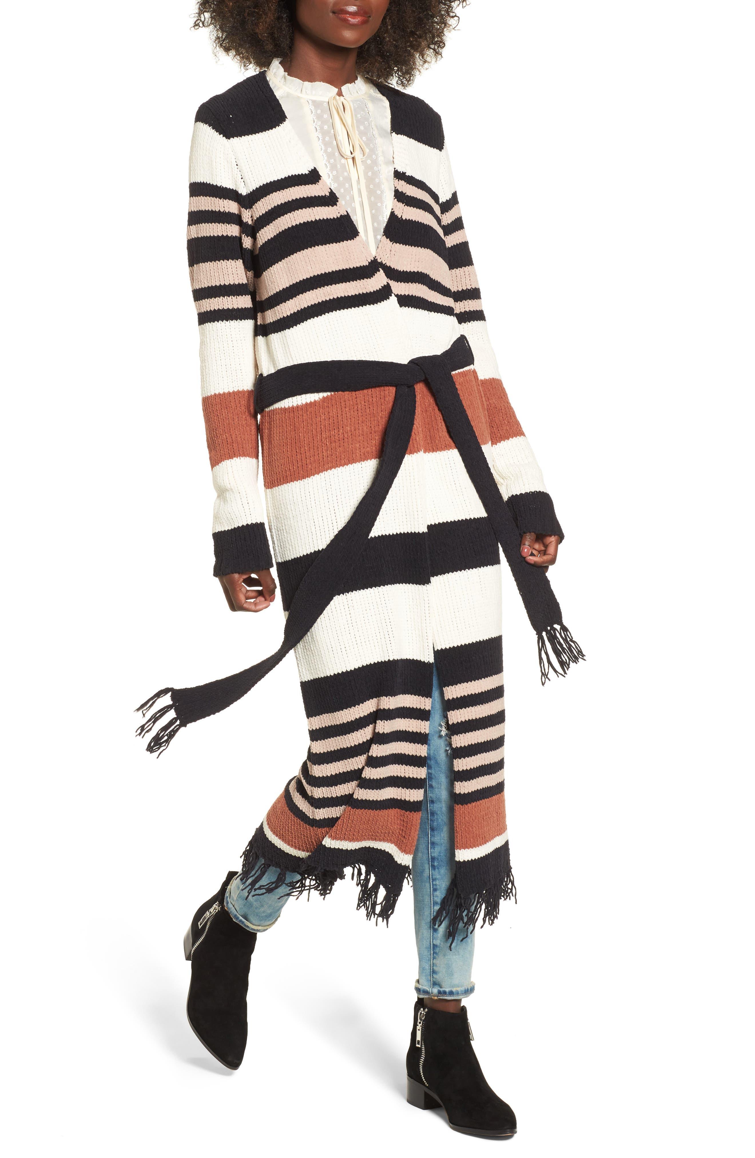 Belted Stripe Knit Duster,                             Alternate thumbnail 4, color,                             Black Stripe