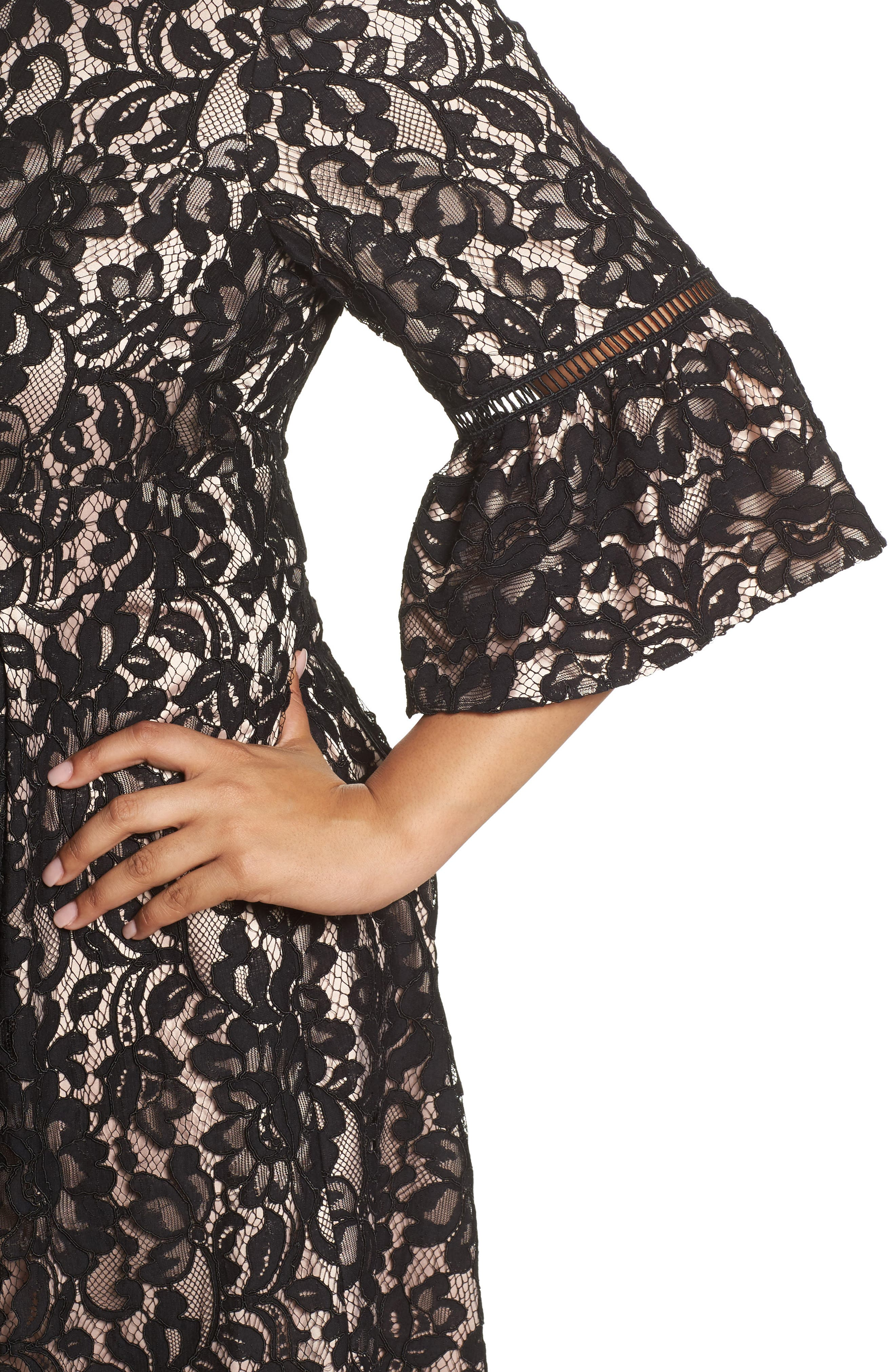 Fit & Flare Lace Dress,                             Alternate thumbnail 4, color,                             Black