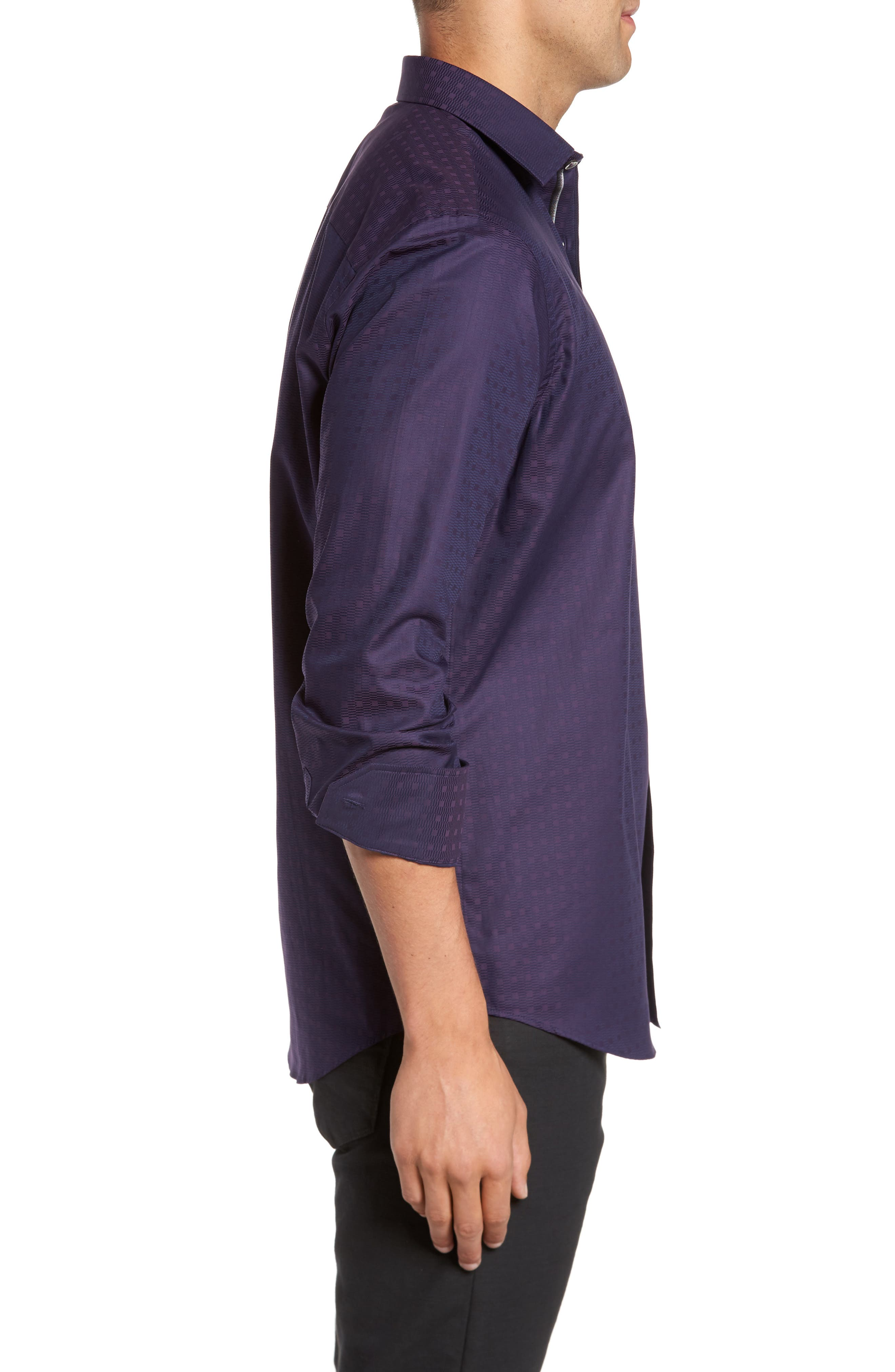 Classic Fit Geo Jacquard Sport Shirt,                             Alternate thumbnail 3, color,                             Plum
