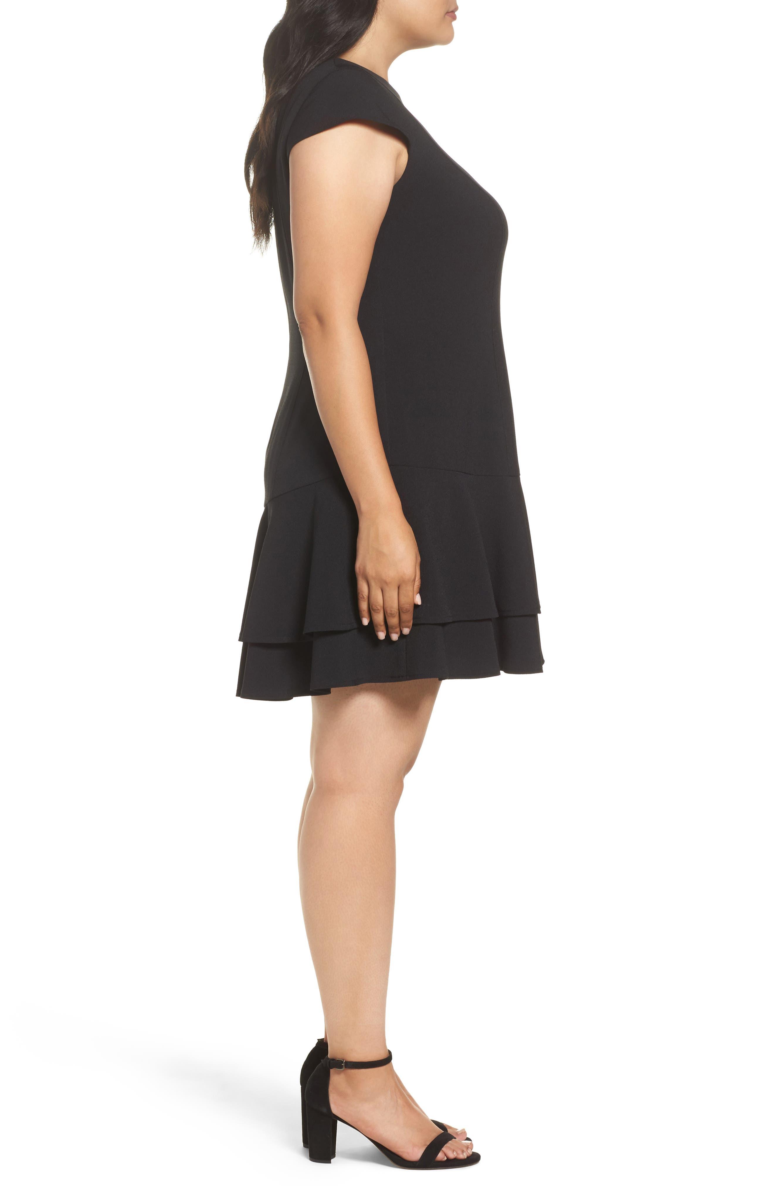 Crepe Drop Waist Dress,                             Alternate thumbnail 3, color,                             Black
