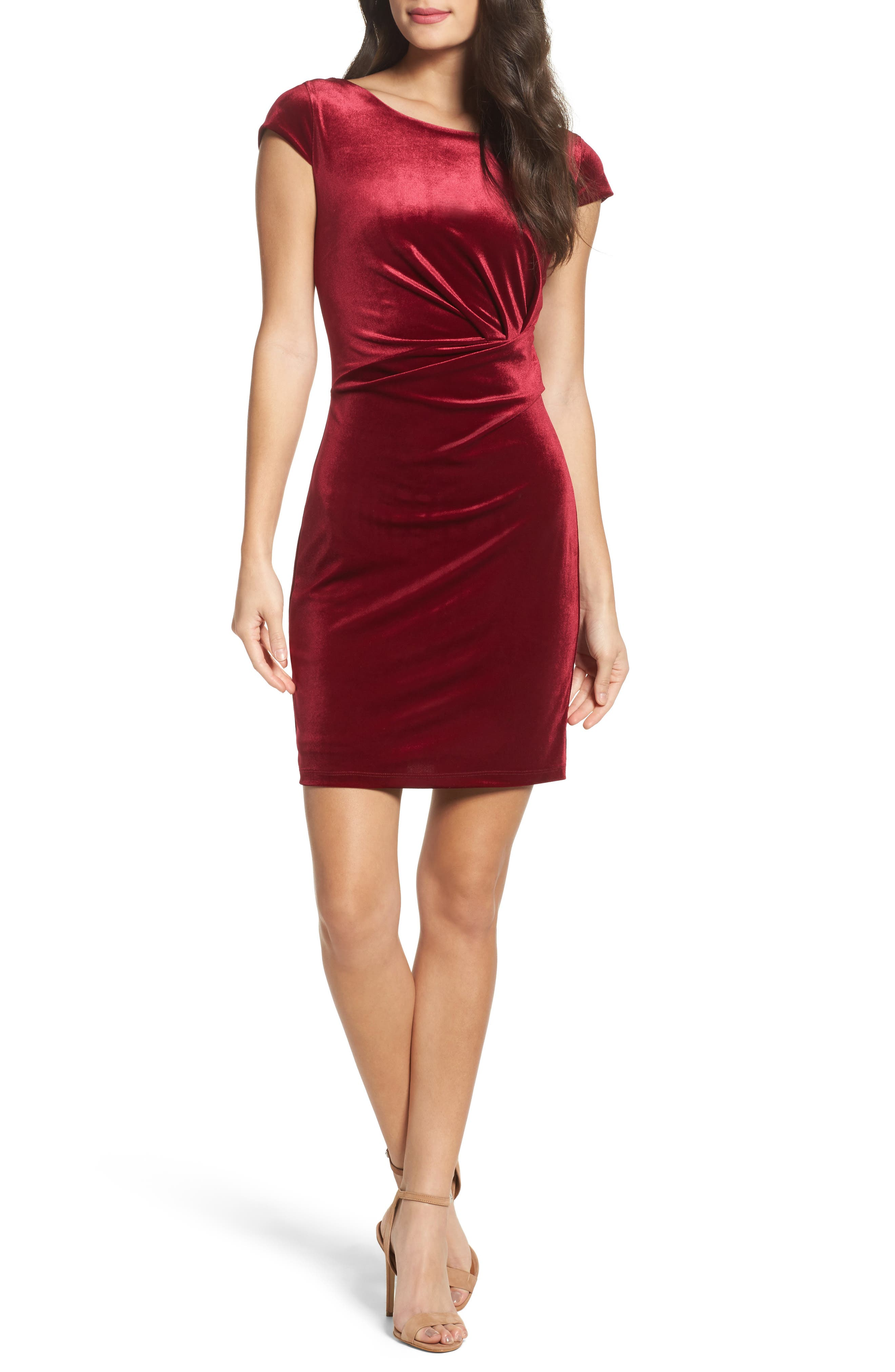 Pleat Side Velvet Dress,                         Main,                         color, Wine