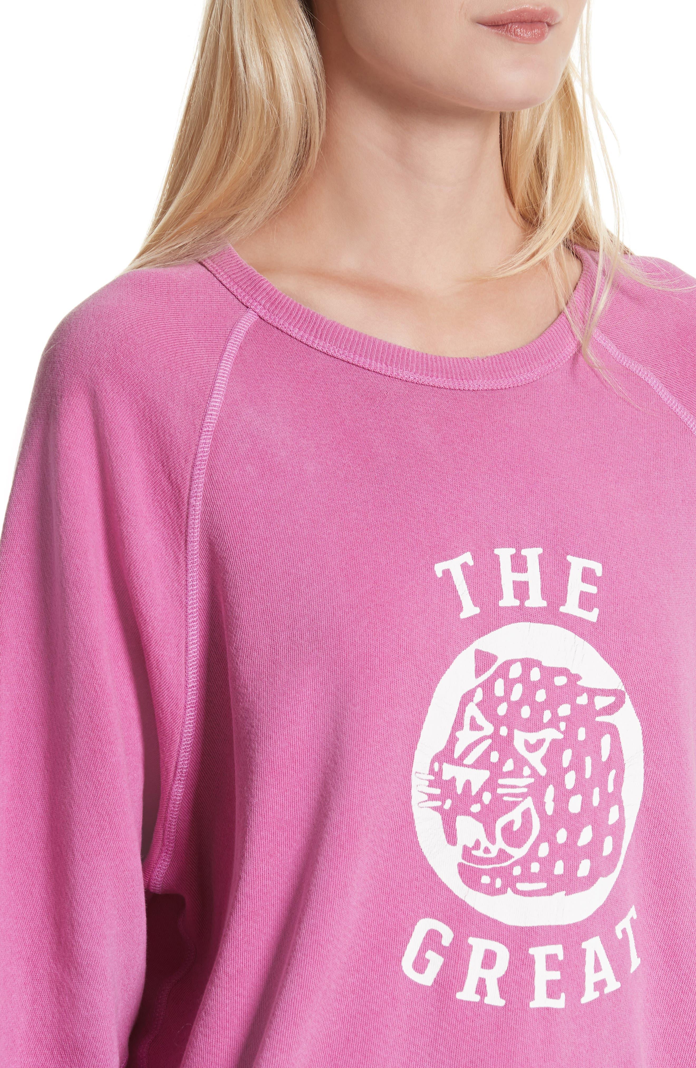 The College Sweatshirt,                             Alternate thumbnail 4, color,                             Thistle W/ Jaguar Graphic