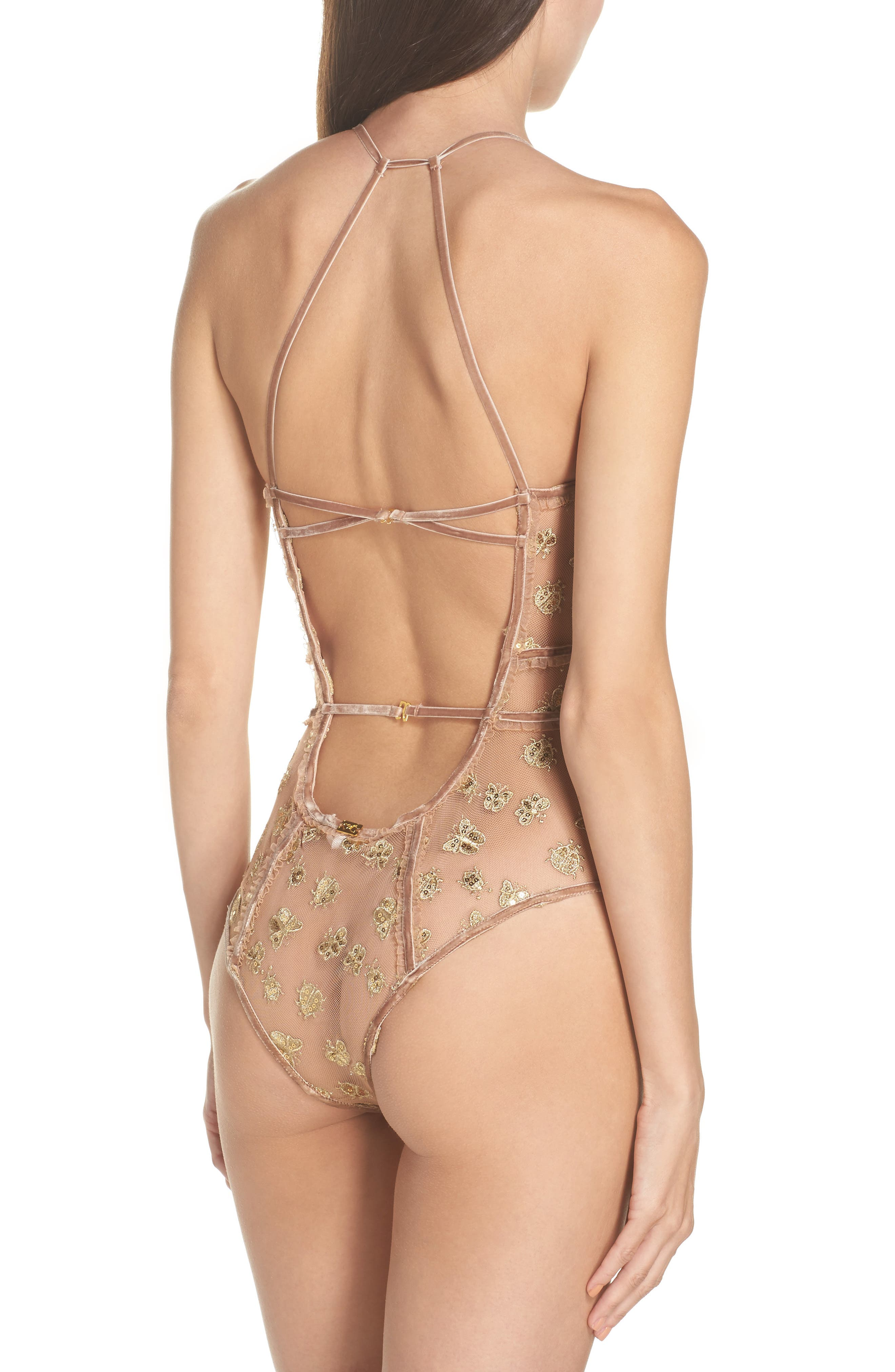 Golden Garden Embroidered Bodysuit,                             Alternate thumbnail 2, color,                             Bee