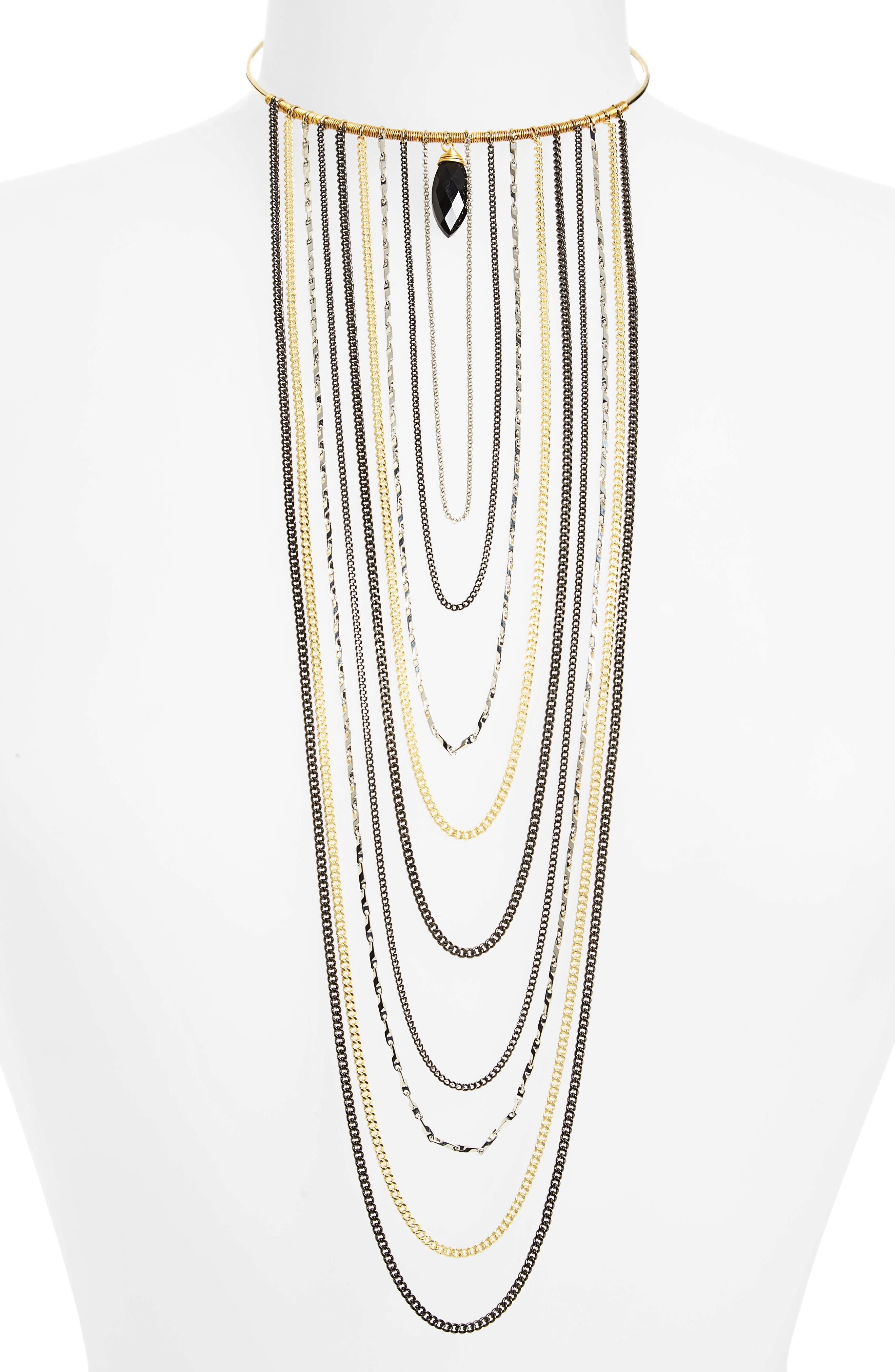 Nakamol Design Long Loop Multi Chain Choker Necklace