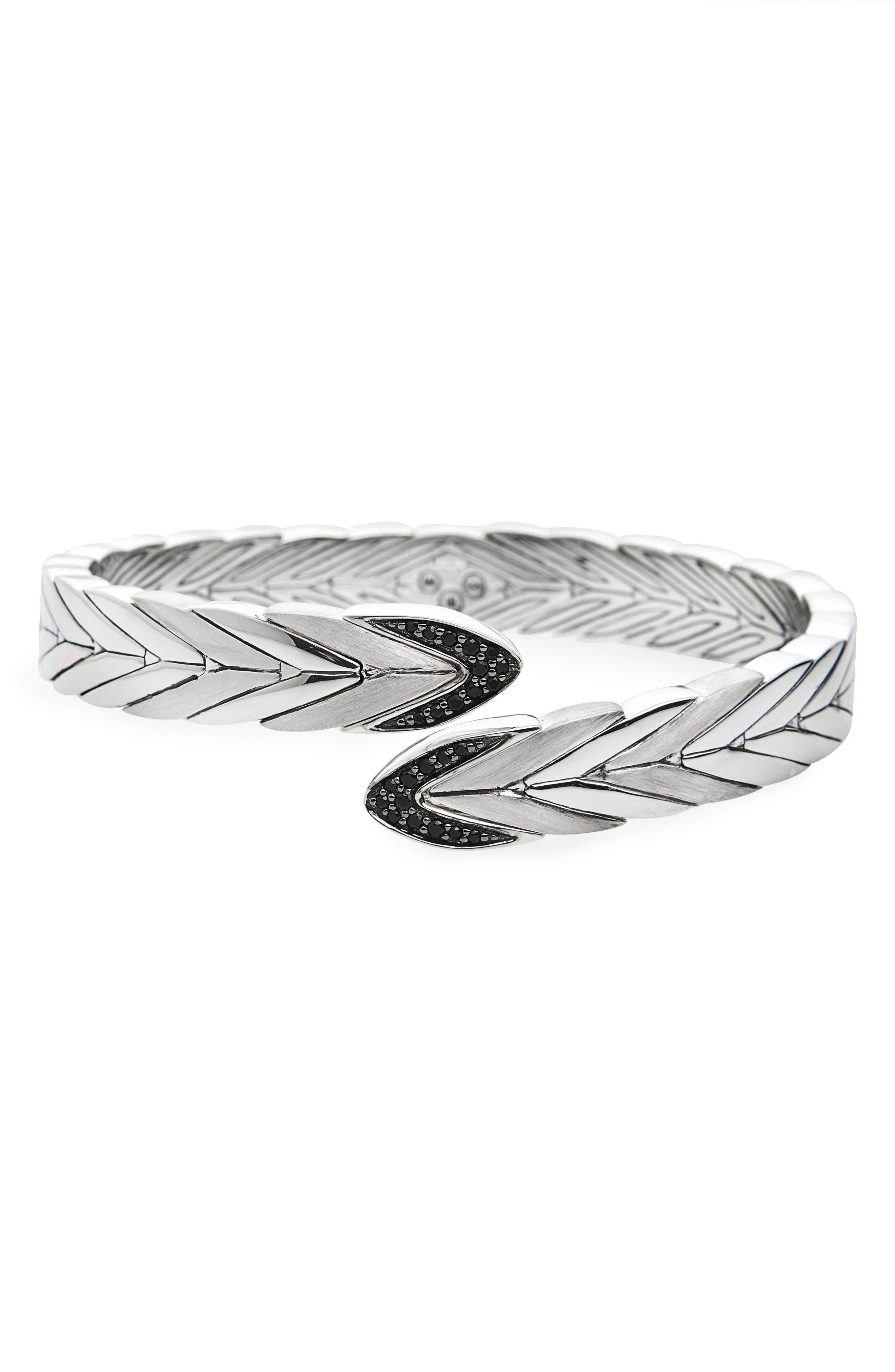 Modern Chain Flex Cuff,                             Main thumbnail 1, color,                             Silver/ Black Sapphire