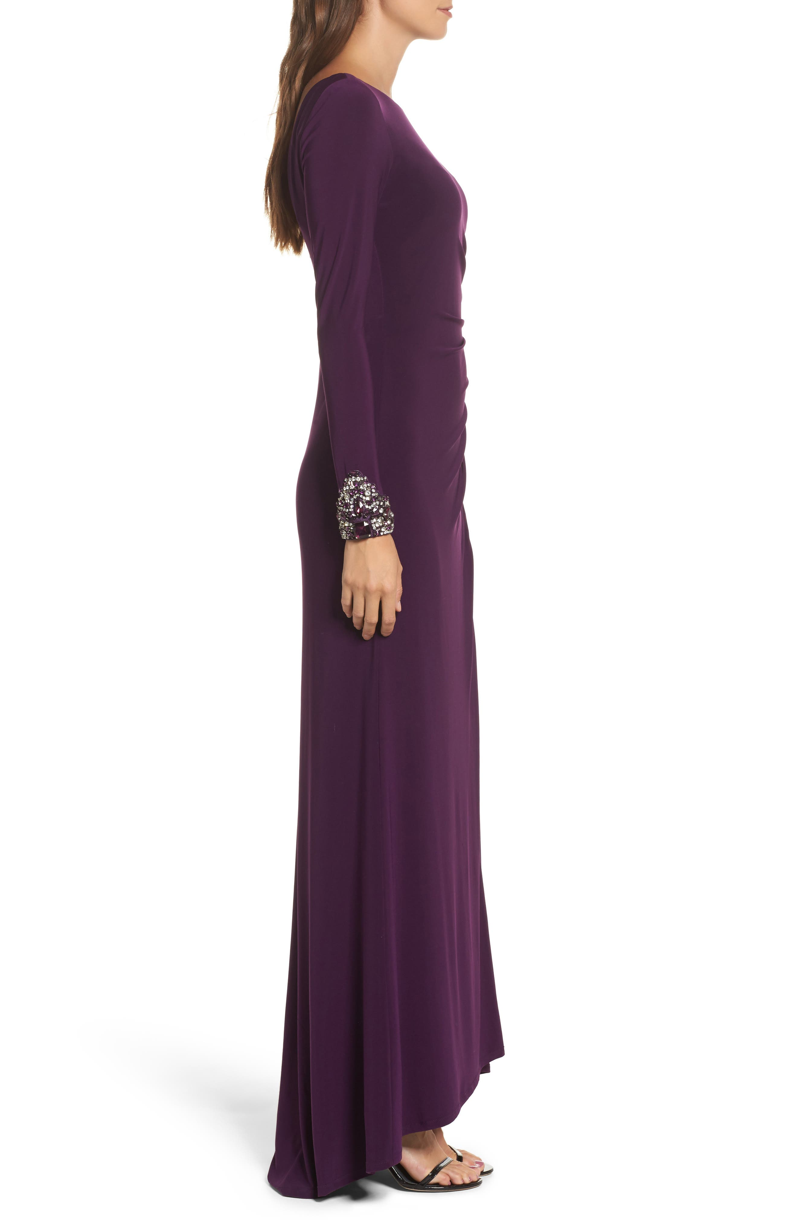 Beaded Sleeve Ruched Jersey Gown,                             Alternate thumbnail 3, color,                             Plum