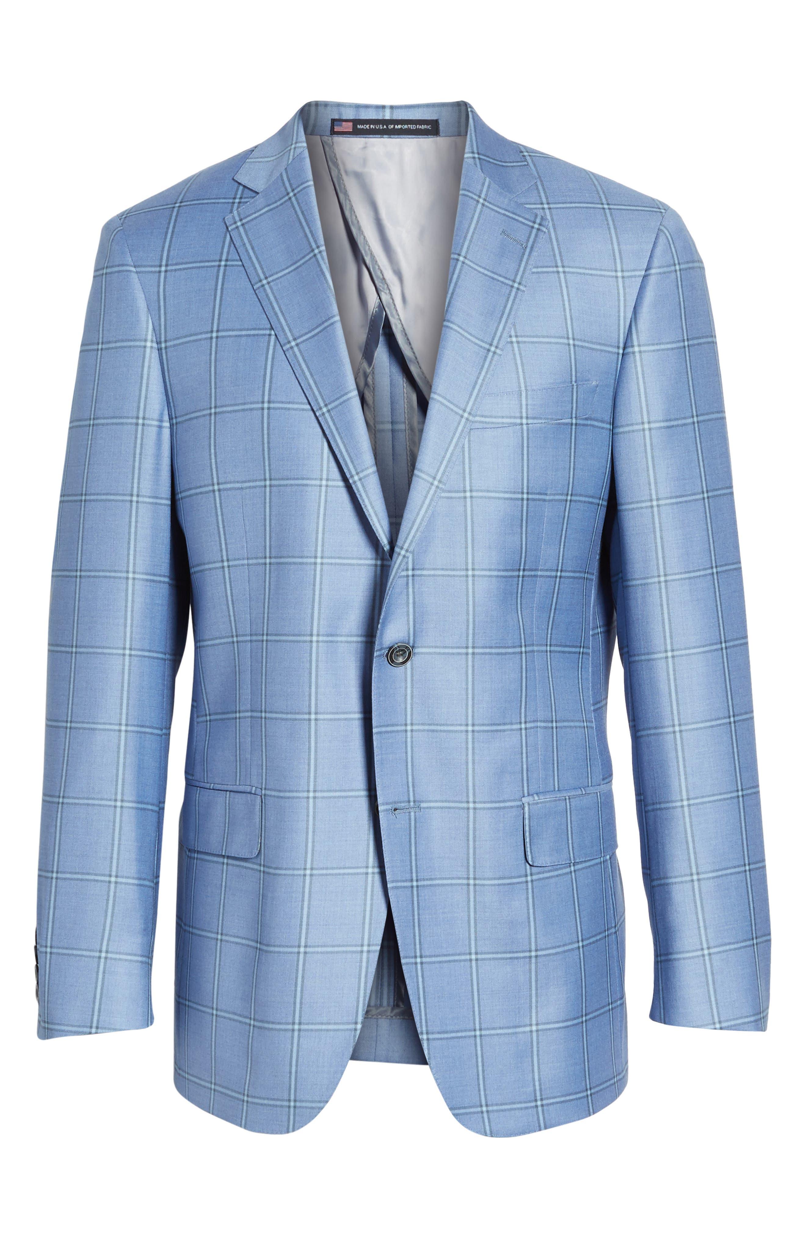 Classic Fit Windowpane Wool Sport Coat,                             Alternate thumbnail 6, color,                             Light Blue