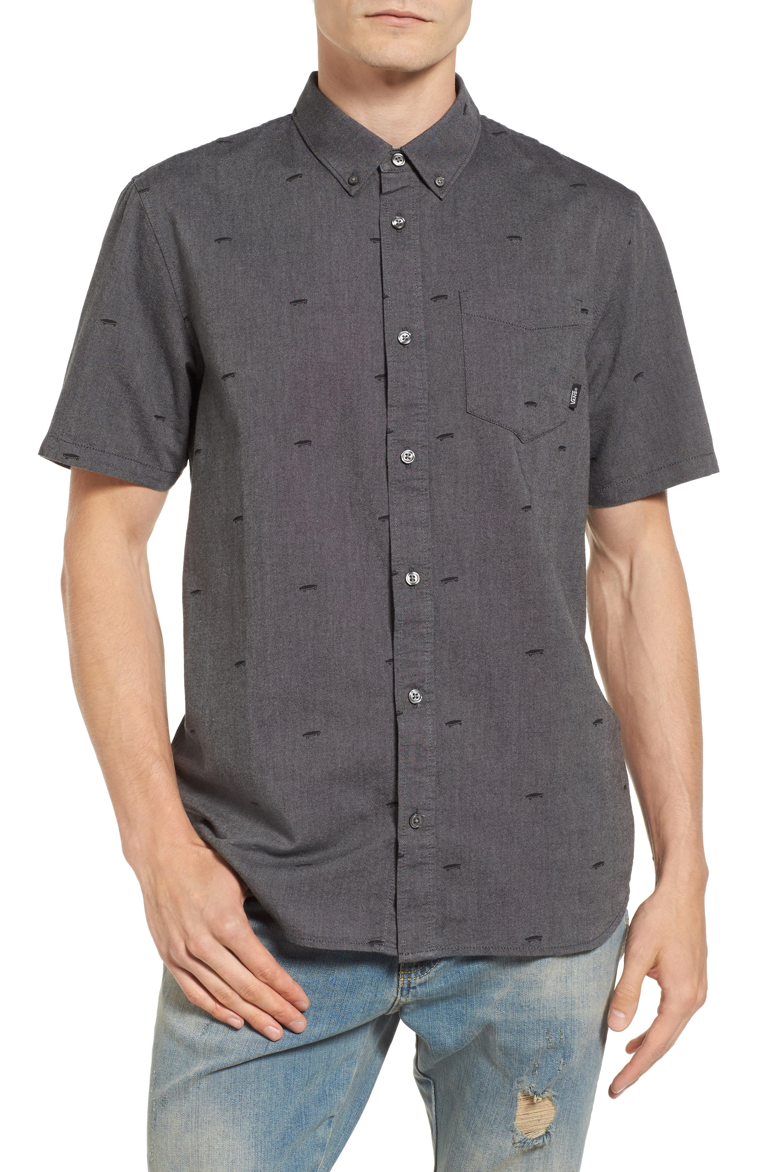 Houser Woven Shirt,                         Main,                         color, Black Salton Ditsy