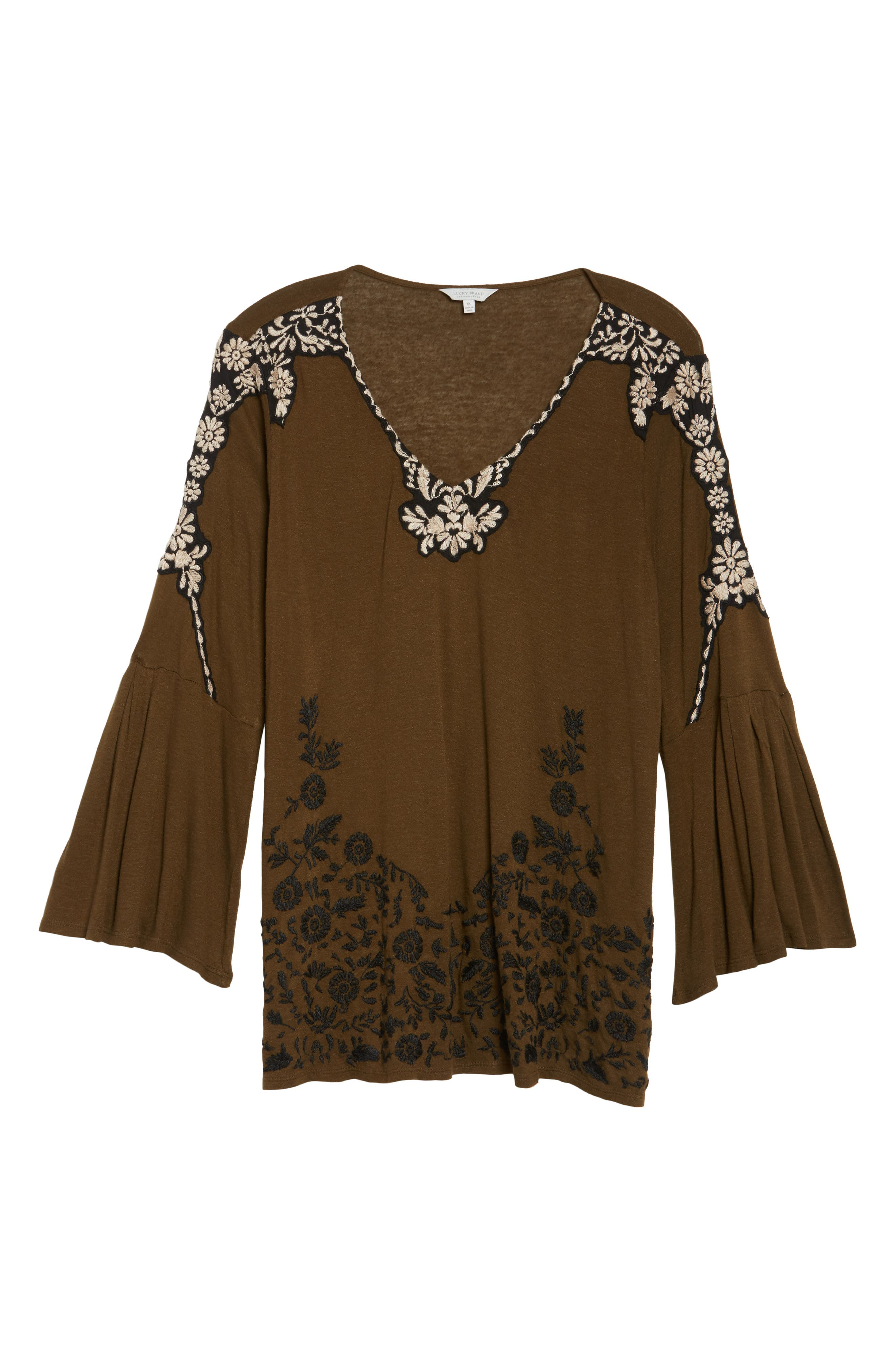 Embroidered Bell Sleeve Top,                             Alternate thumbnail 6, color,                             Olive