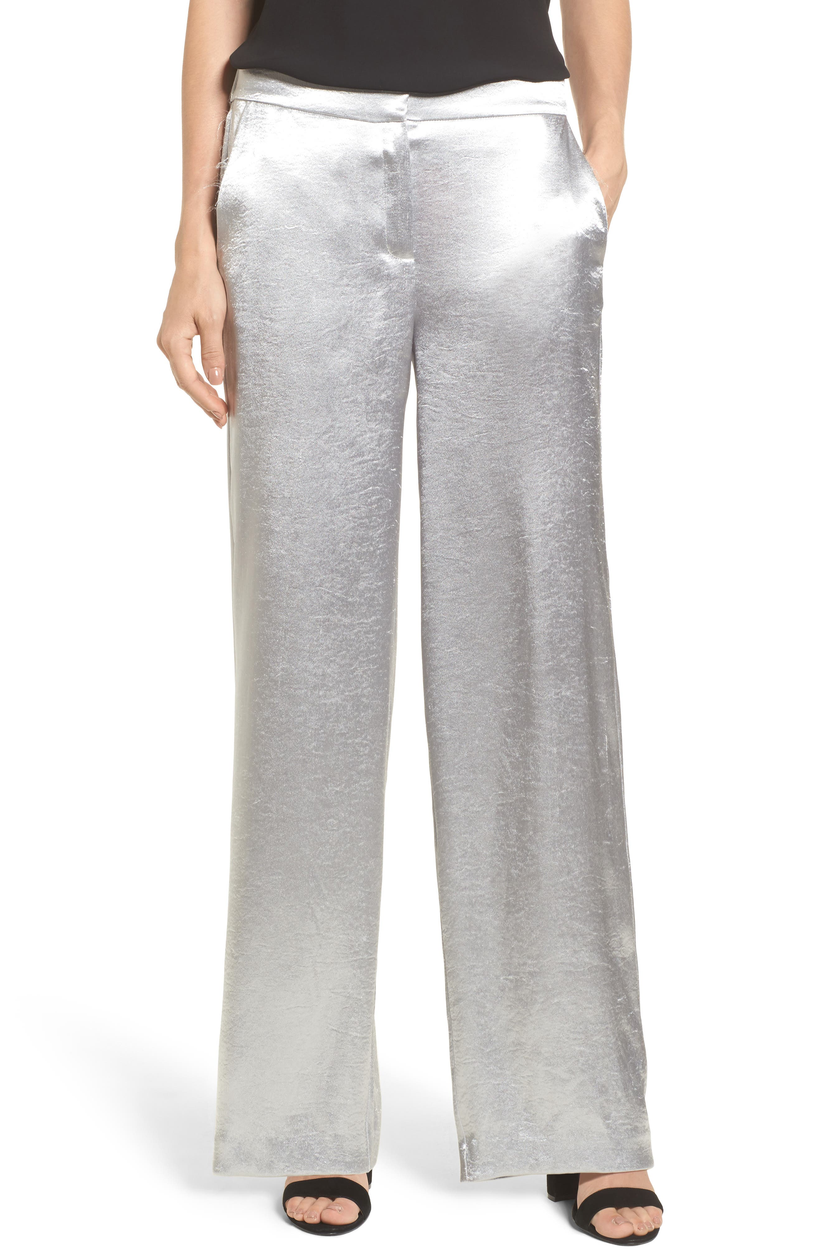 Wide Leg Hammered Satin Pants,                         Main,                         color, Silver Mink