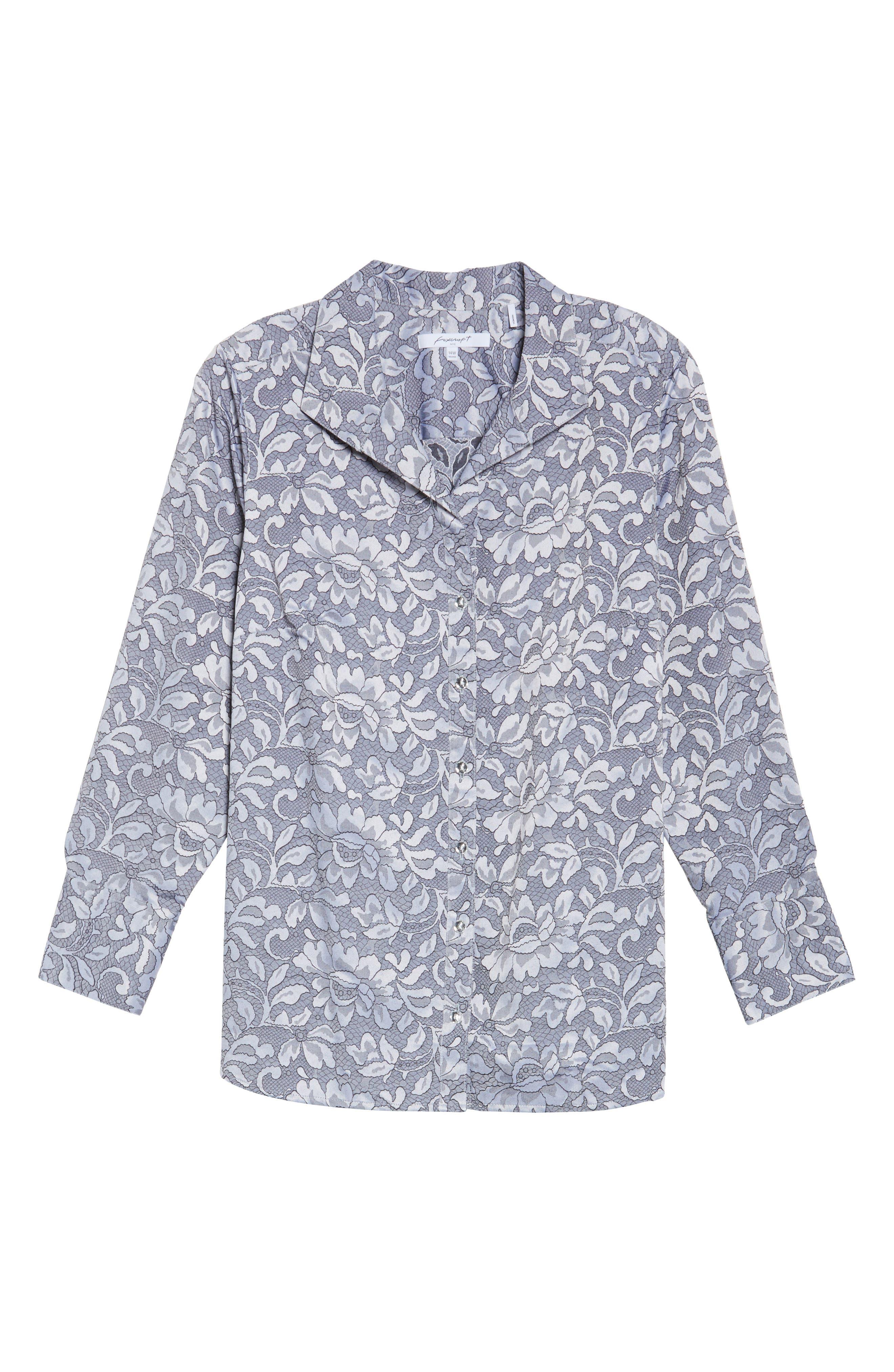 Rhonda Lace Jacquard Shirt,                             Alternate thumbnail 6, color,                             Slate