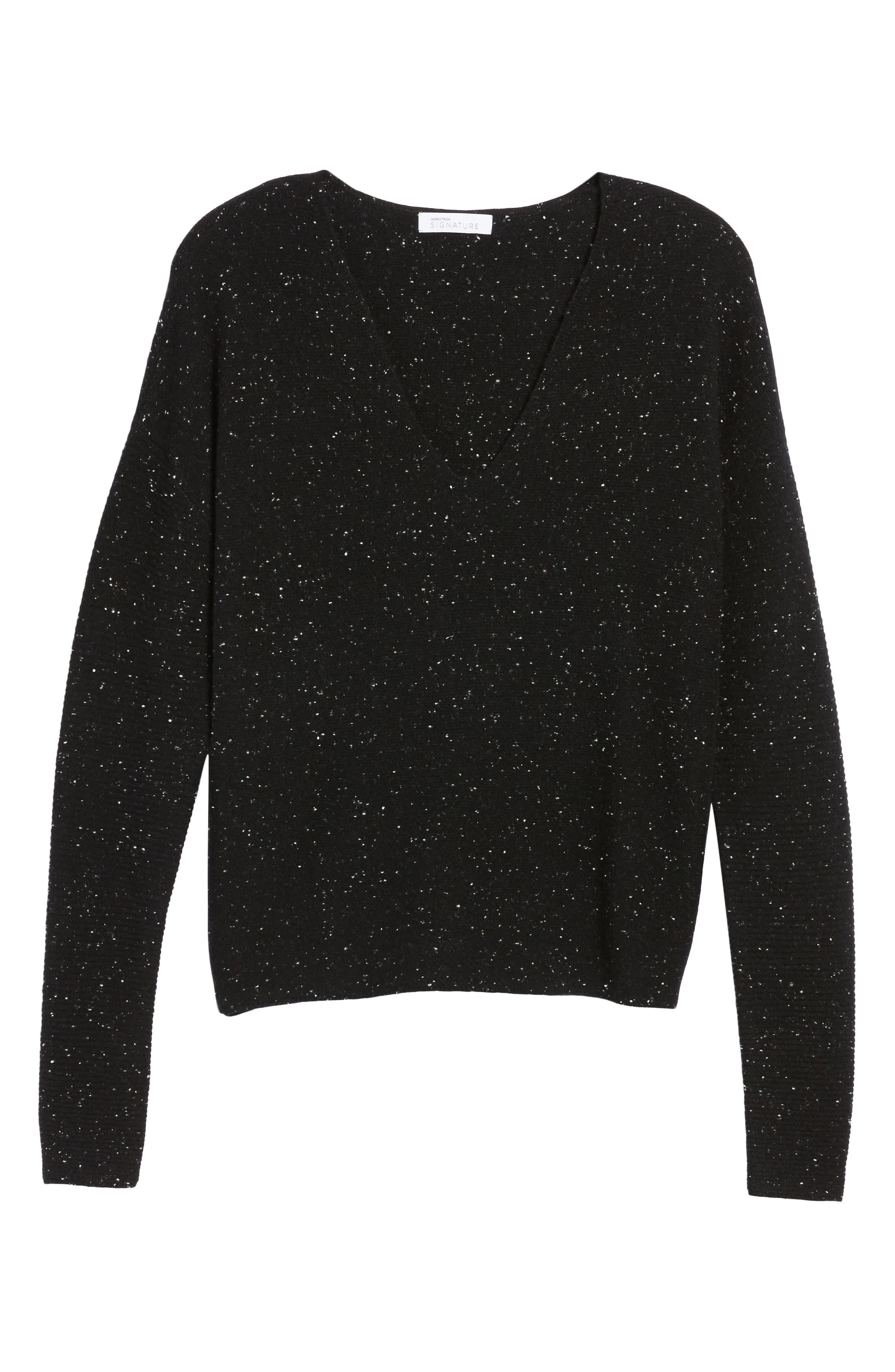 Textured Cashmere V-Neck Sweater,                             Alternate thumbnail 6, color,                             Black Tweed