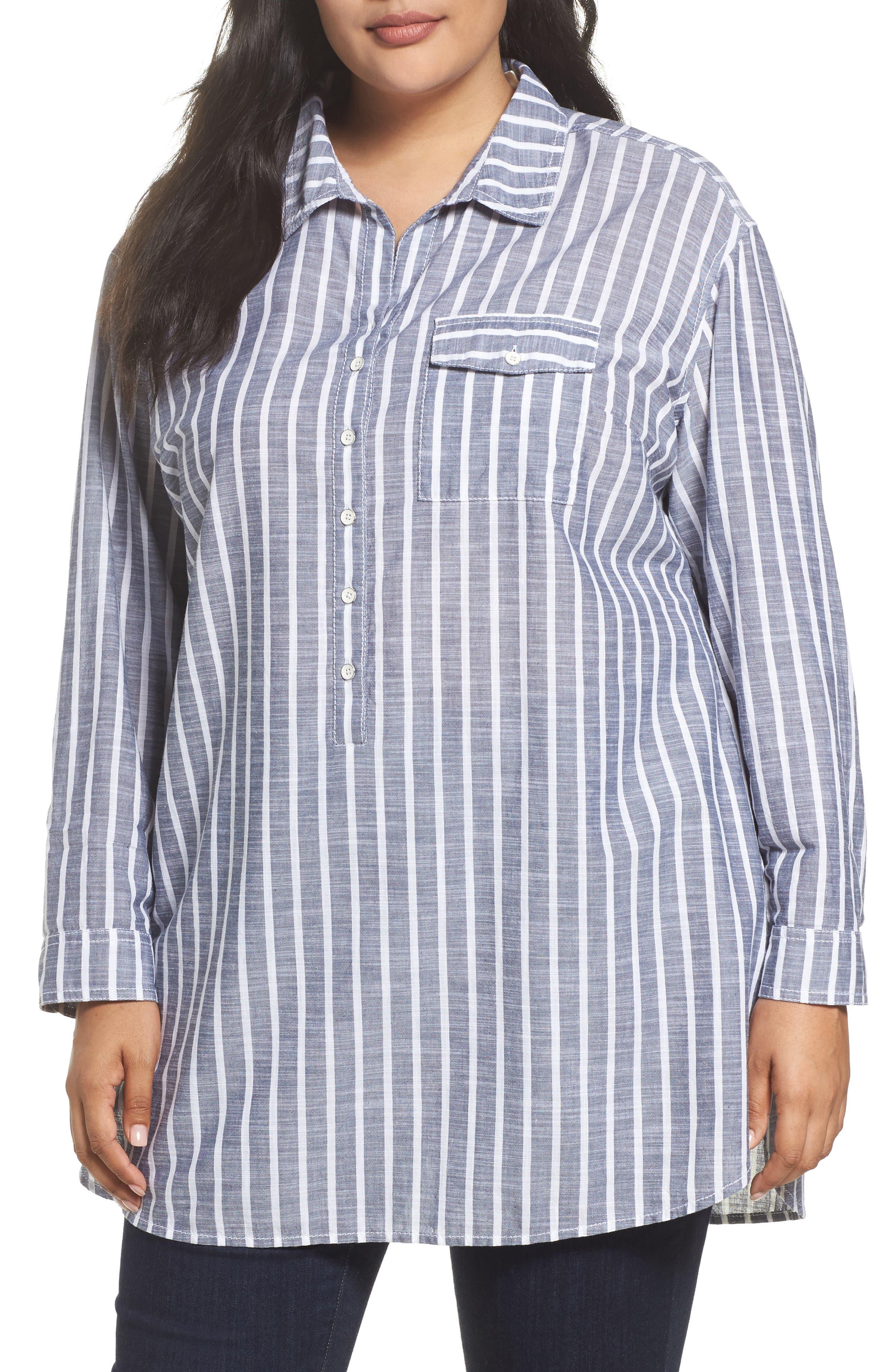 Tie Neck Cotton Tunic,                         Main,                         color, Navy- White Stripe