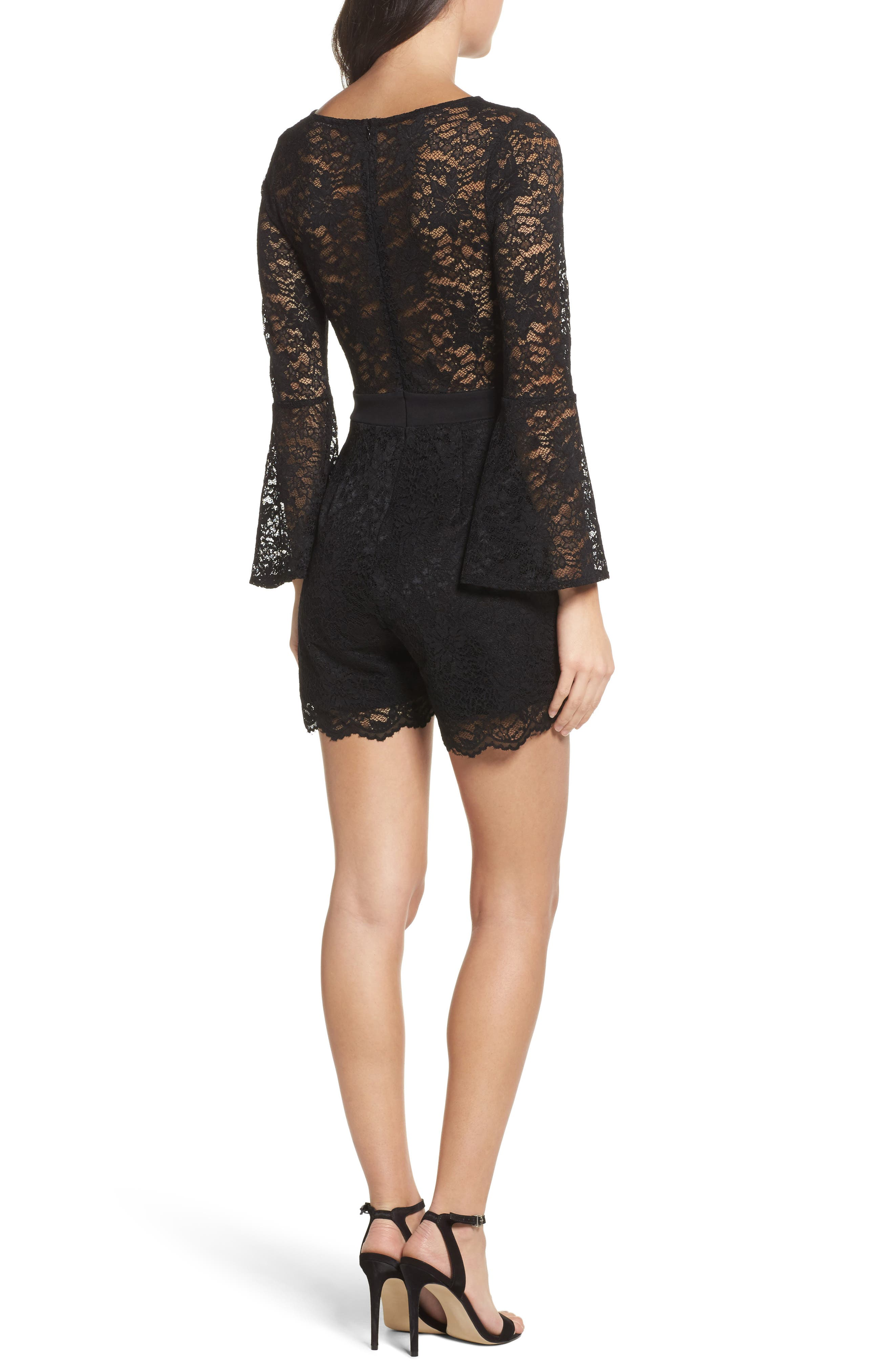 Bell Sleeve Lace Romper,                             Alternate thumbnail 2, color,                             Black