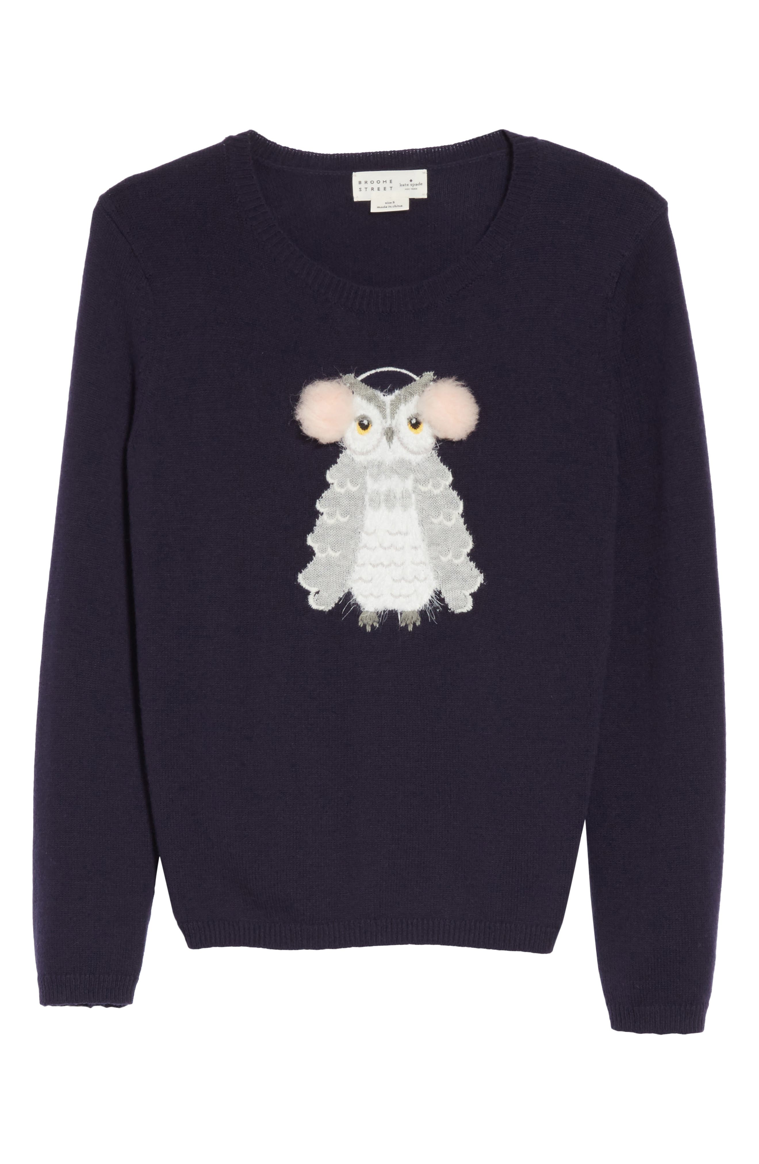 owl sweater,                             Alternate thumbnail 6, color,                             Navy Multi