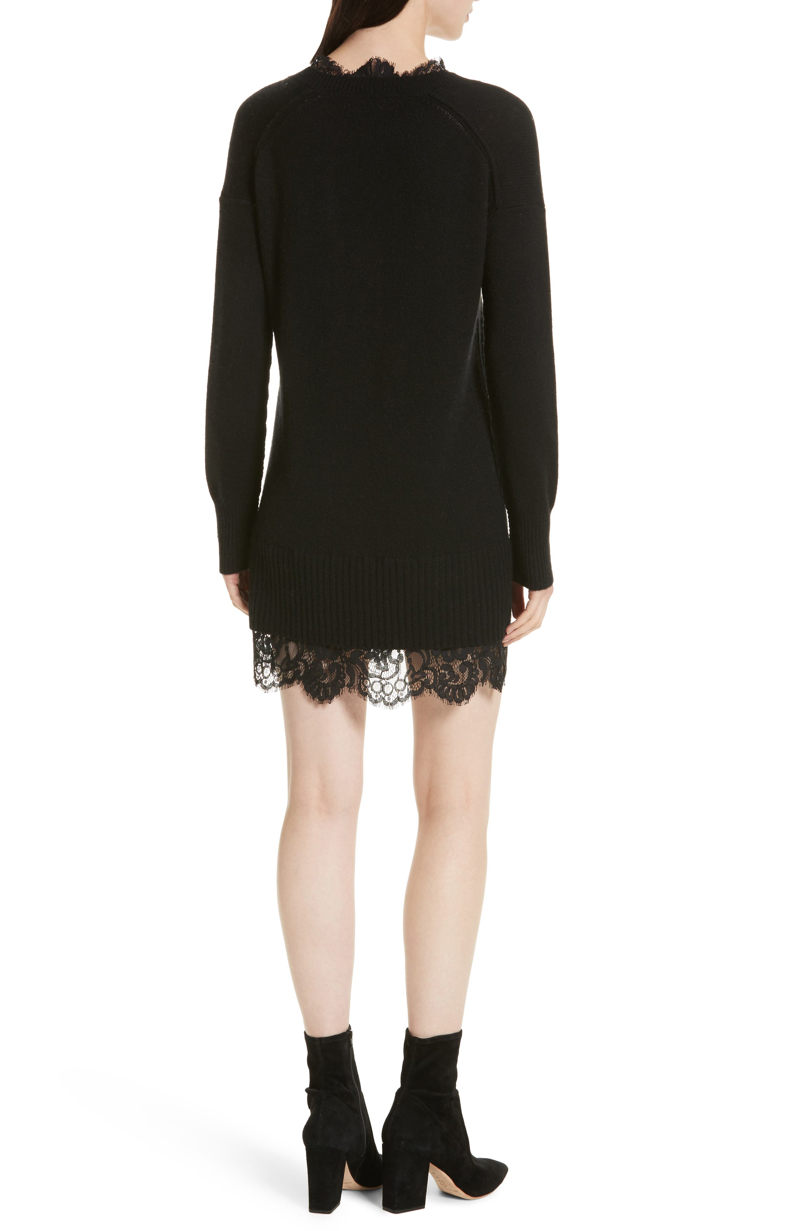 Lace Looker Sweater Dress,                             Alternate thumbnail 2, color,                             Black Onyx