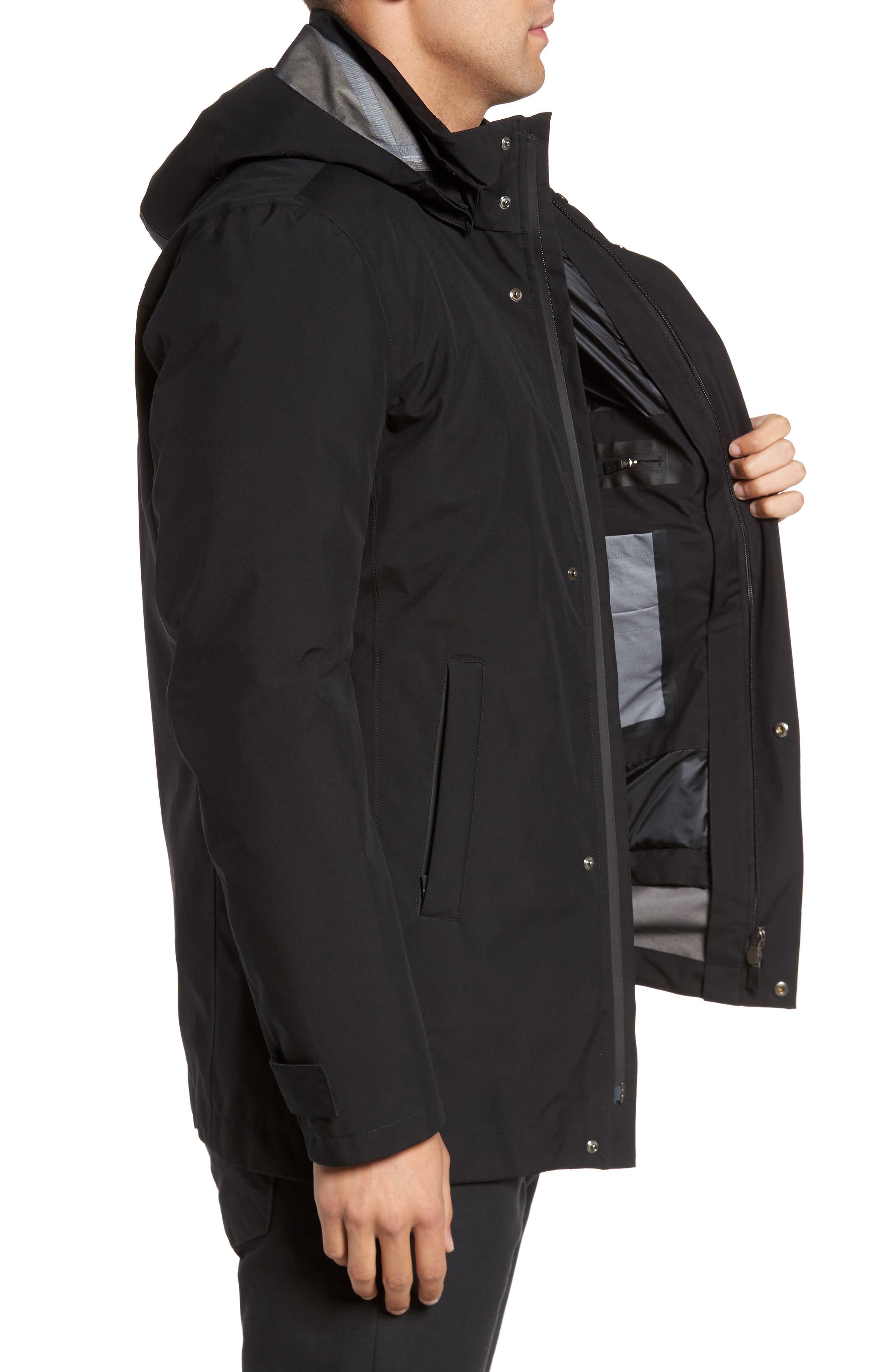 Laminar 3-in-1 Gore-Tex<sup>®</sup> Car Coat,                             Alternate thumbnail 3, color,                             Black