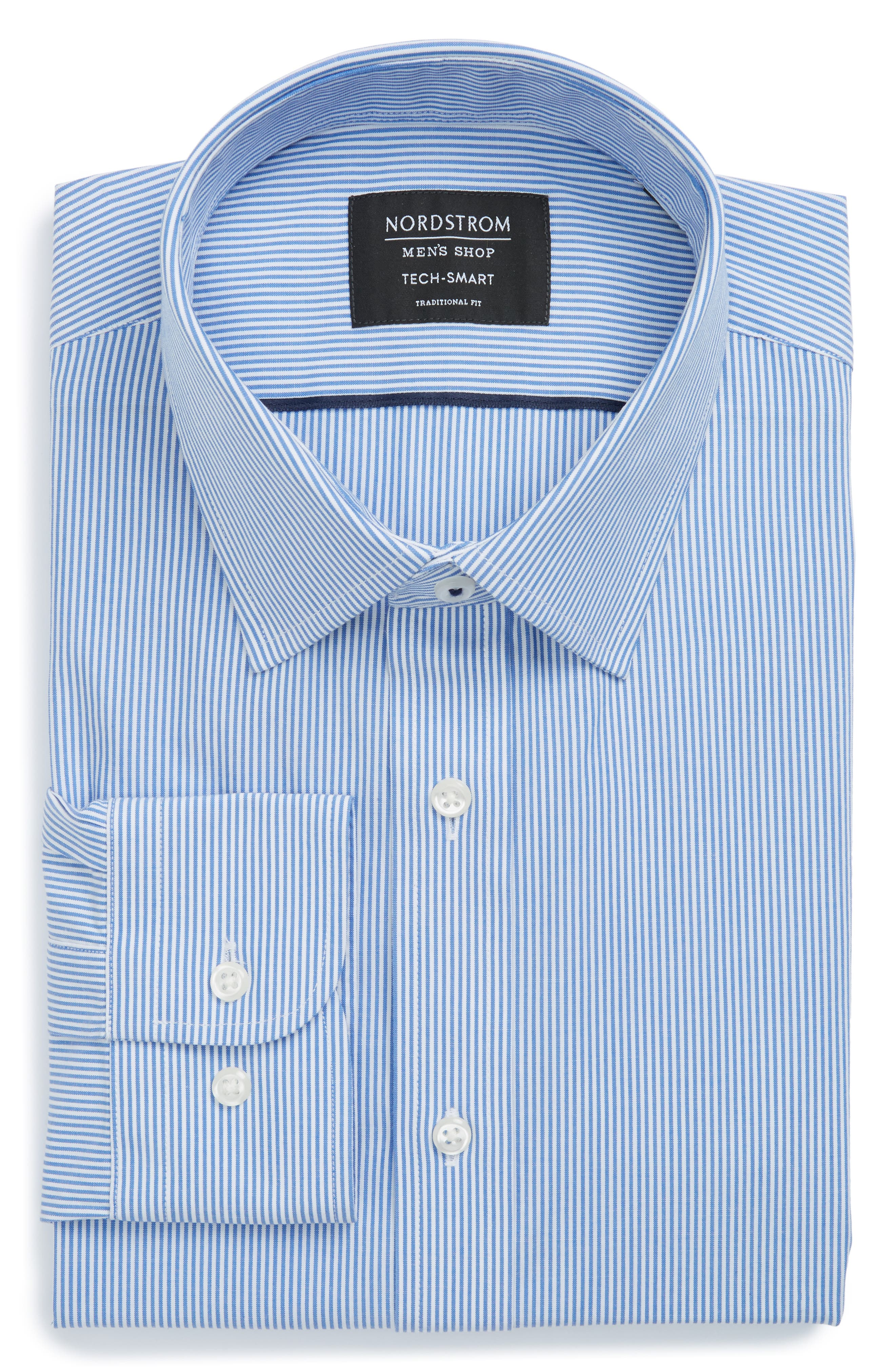 Tech-Smart Traditional Fit Stretch Stripe Dress Shirt,                             Alternate thumbnail 5, color,                             Blue Yonder