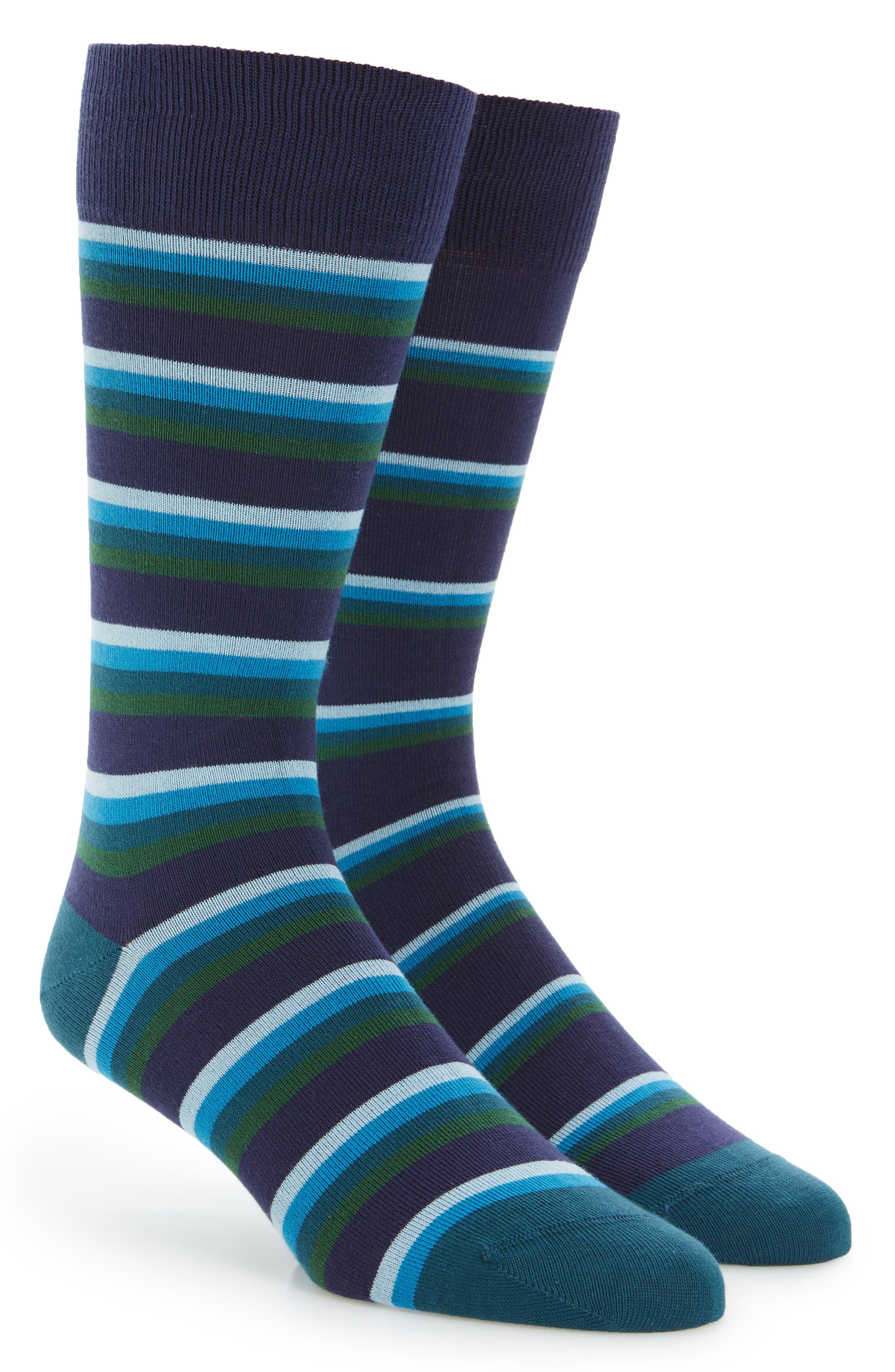 Stripe Socks,                         Main,                         color, Blue/ Green