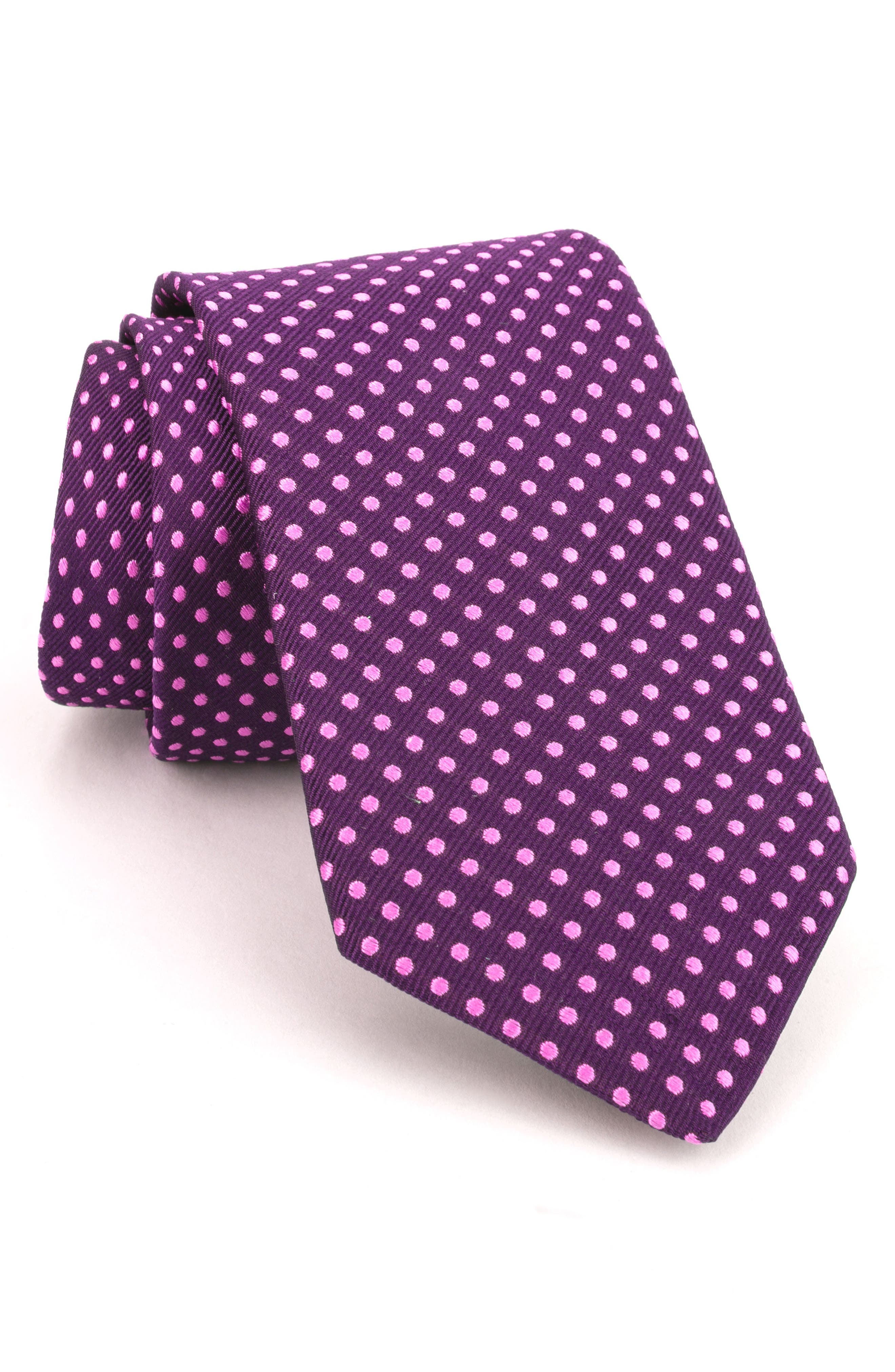 Woven Silk Tie,                         Main,                         color, Purple