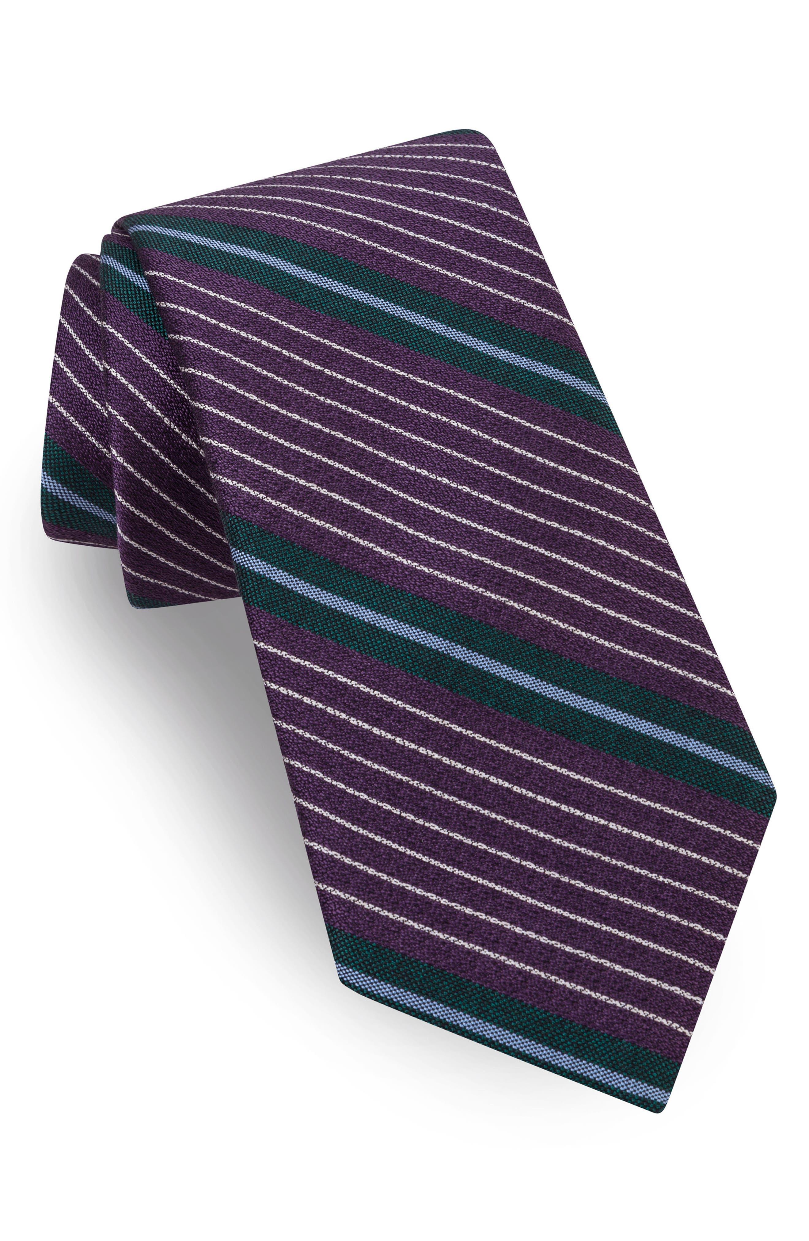 Ted Baker London Sable Stripe Silk & Cotton Tie