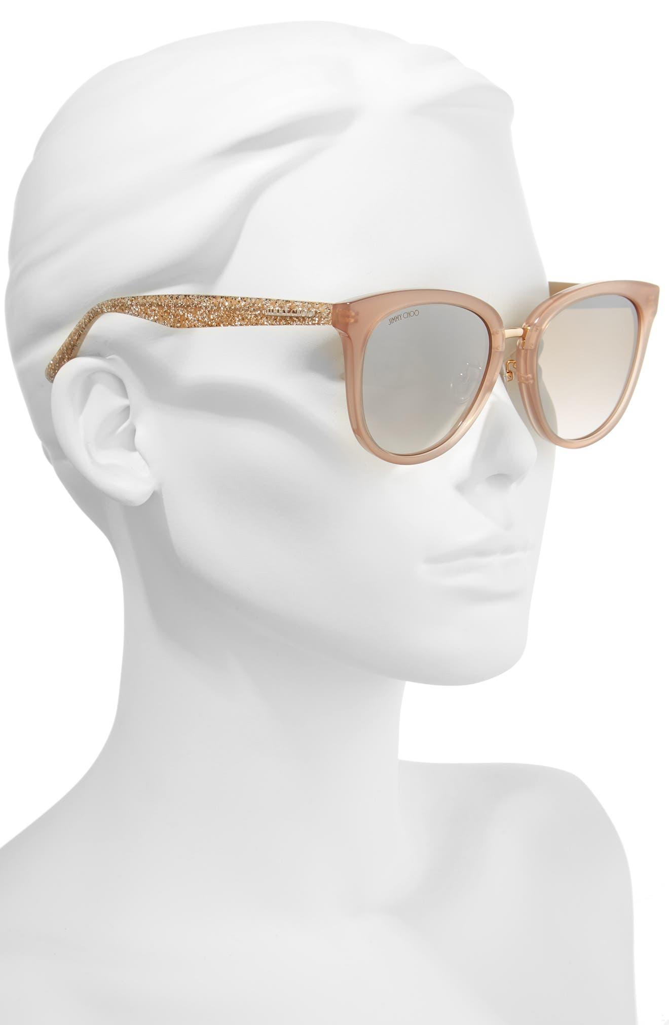 Cadefs 55mm Sunglasses,                             Alternate thumbnail 2, color,                             Nude Glitter Nude