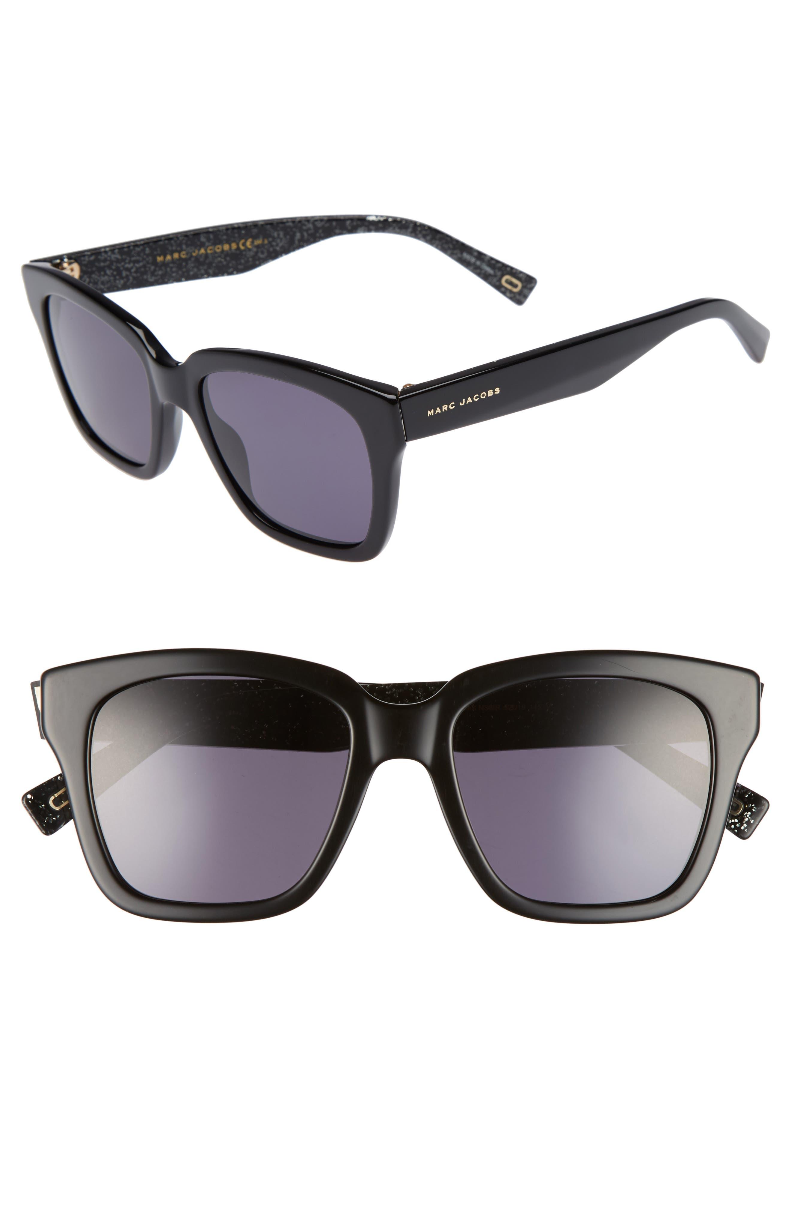 52mm Square Sunglasses,                             Main thumbnail 1, color,                             Black Glitter/ Gray Blue