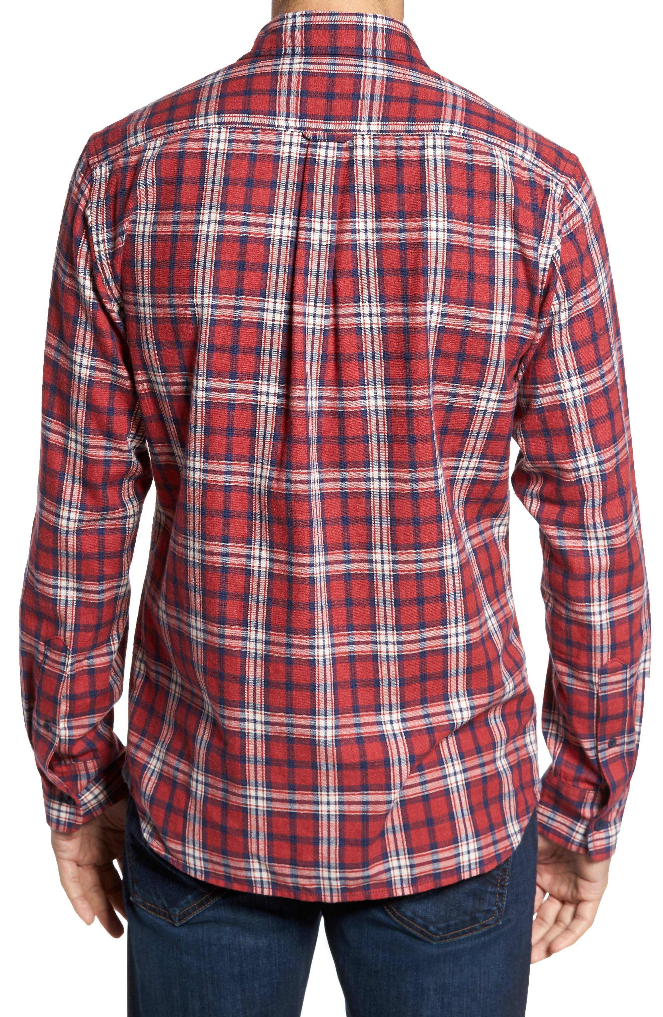 Winslow Slub Plaid Twill Sport Shirt,                             Alternate thumbnail 2, color,                             Red