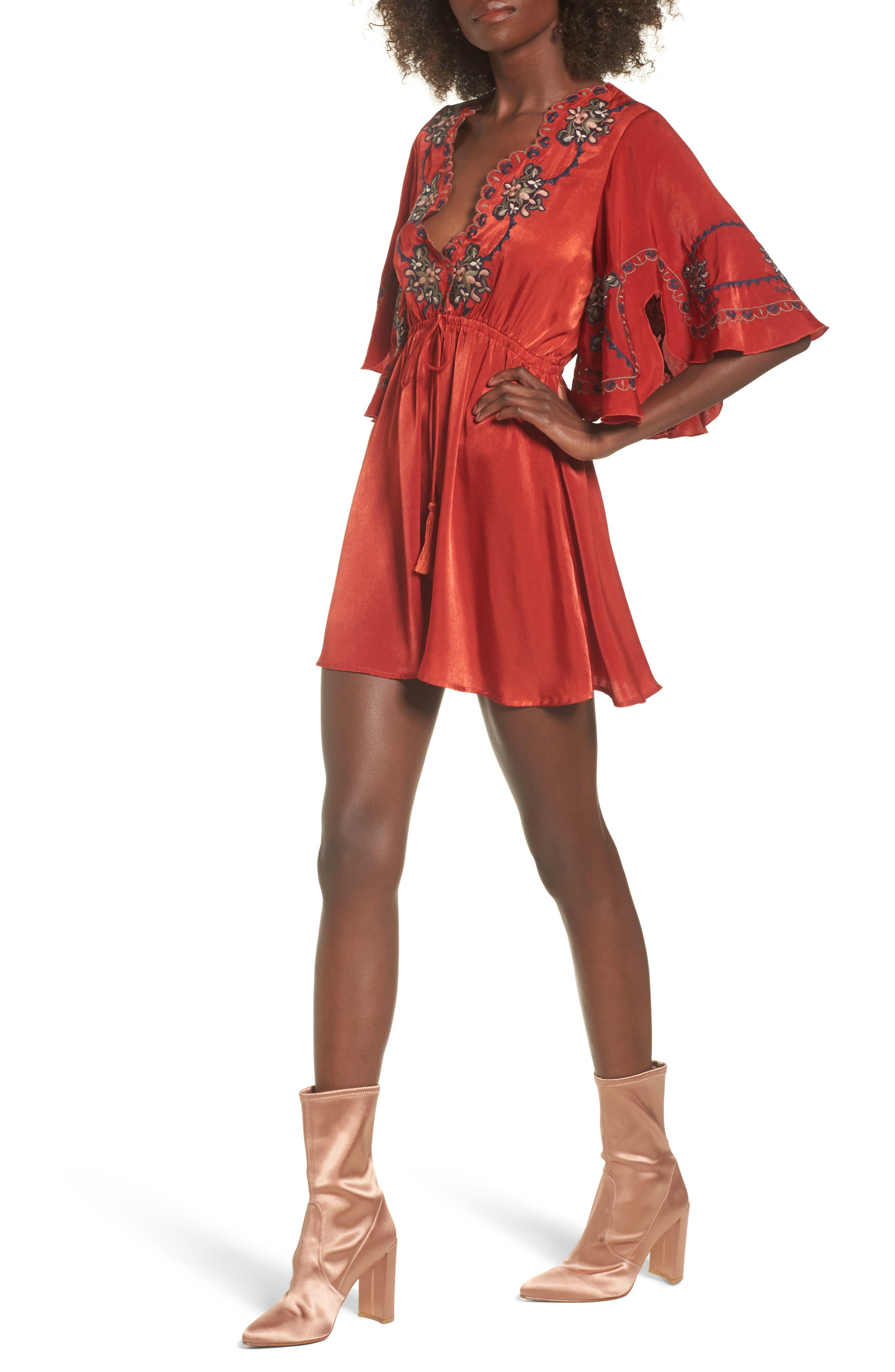 Embroidered Babydoll Dress,                         Main,                         color, Geranium