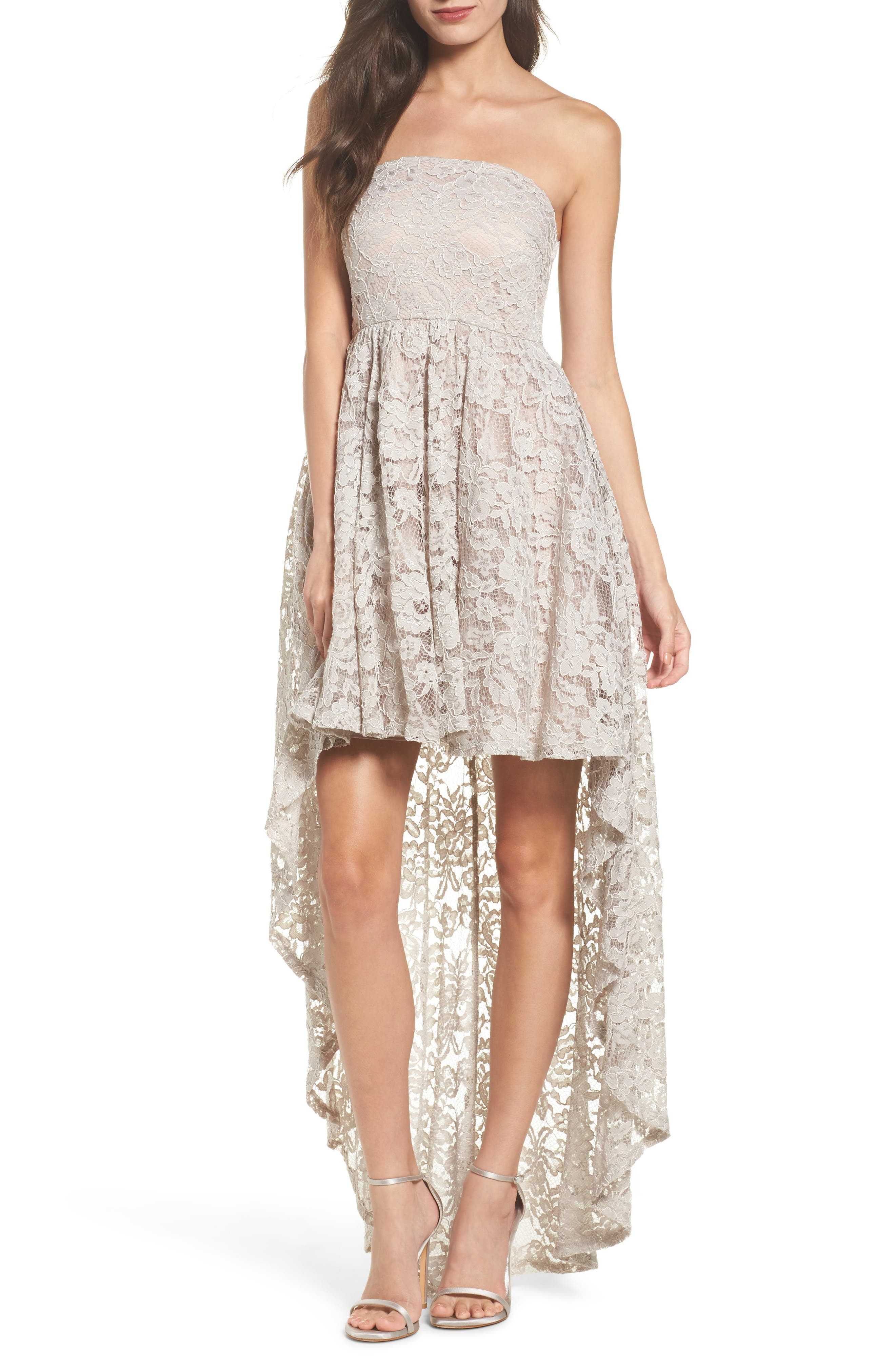 Sequin Hearts Strapless Lace High/Low Dress