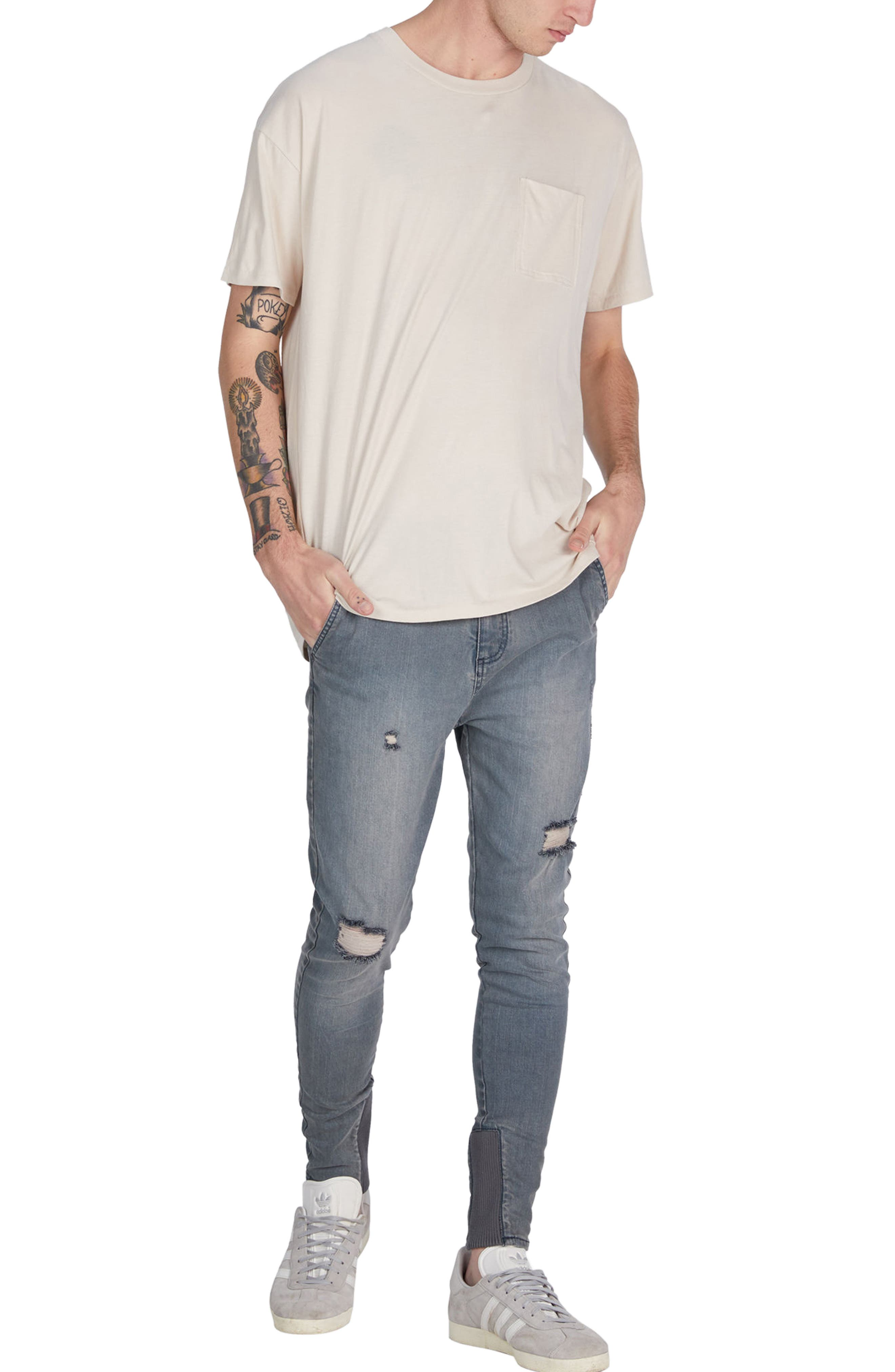 Sharpshot Slouchy Skinny Fit Denim Pants,                             Alternate thumbnail 5, color,                             Blue Grey
