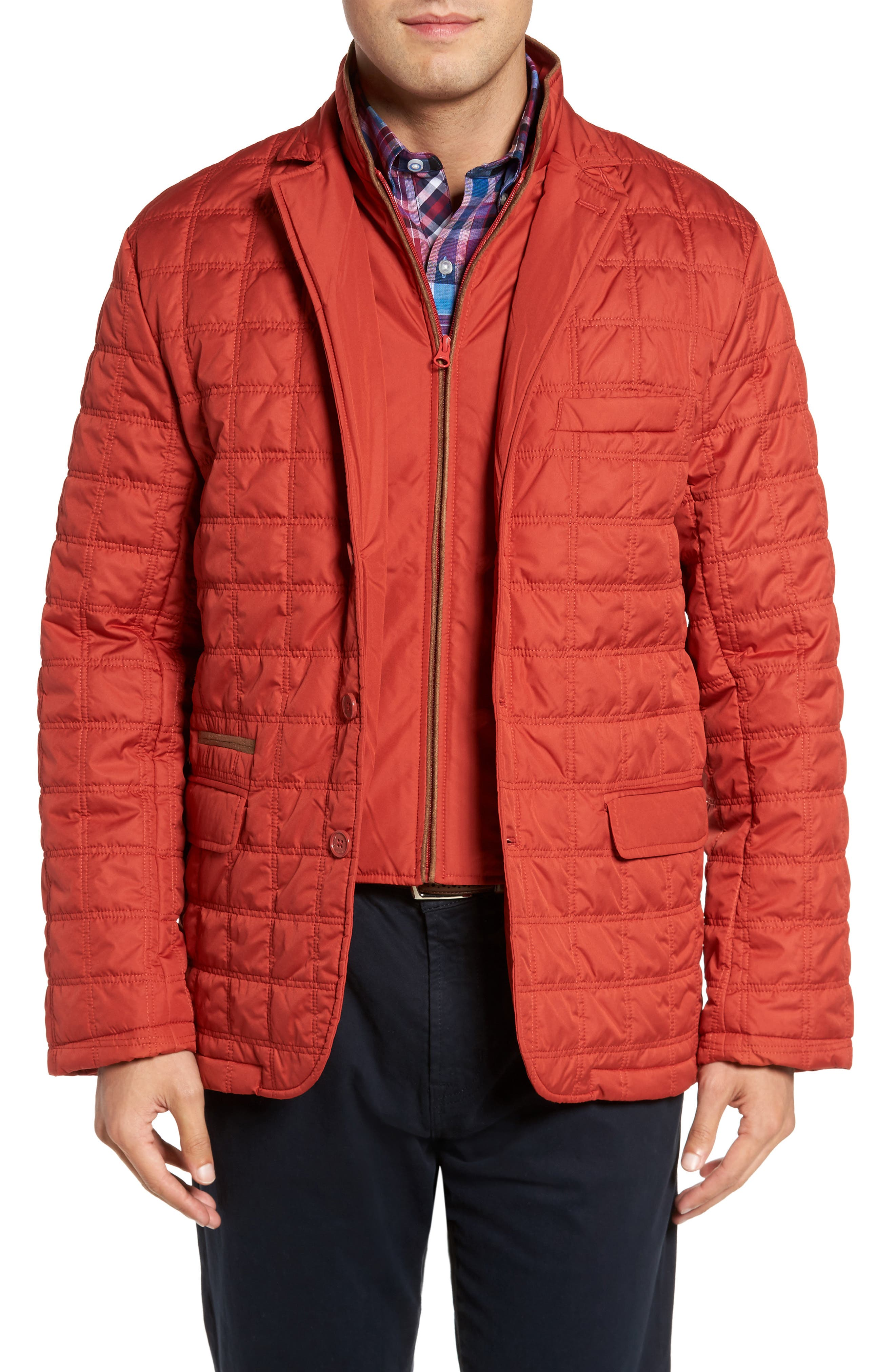 Iota Quilted Jacket,                         Main,                         color, Burnt Orange