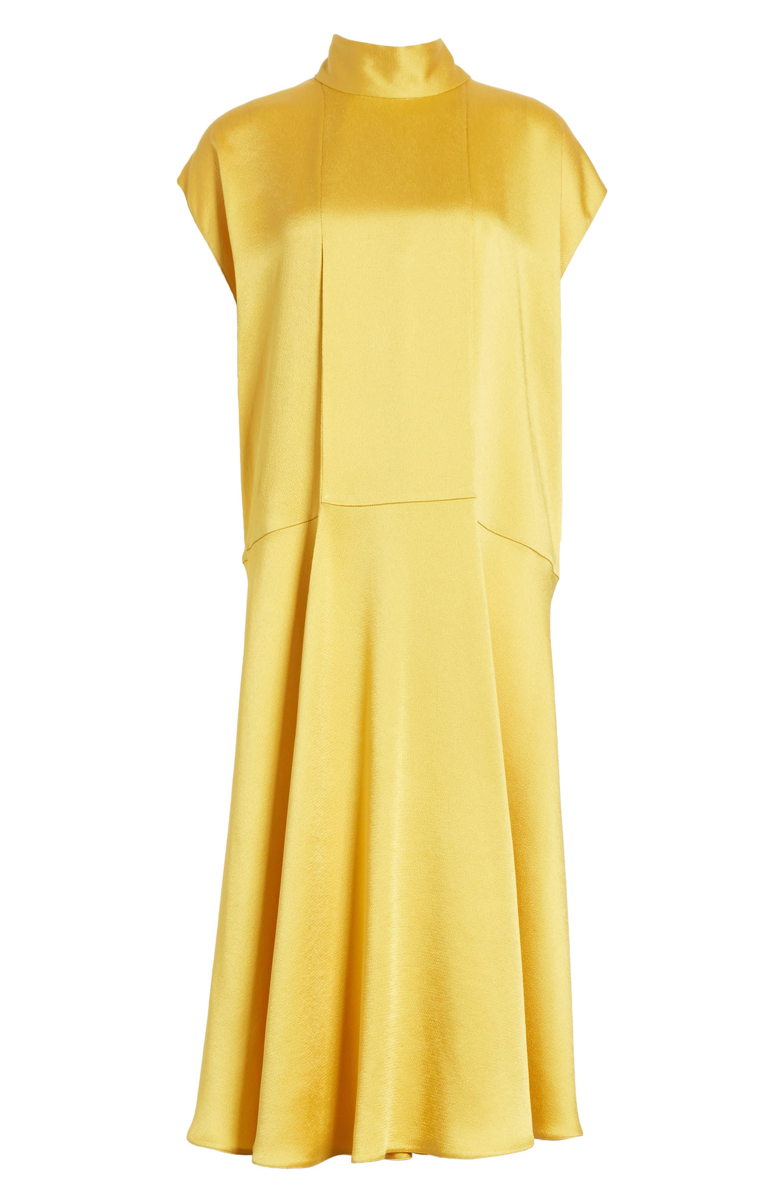 Hammered Satin Midi Dress,                             Alternate thumbnail 6, color,                             Canary Yellow