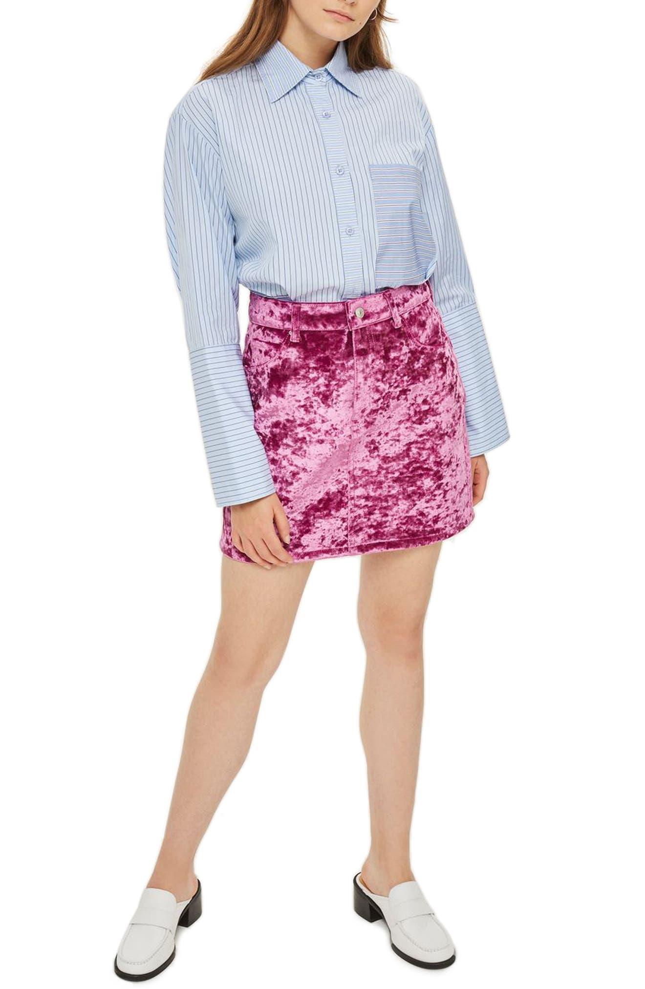Bonded Velvet Miniskirt,                         Main,                         color, Pink