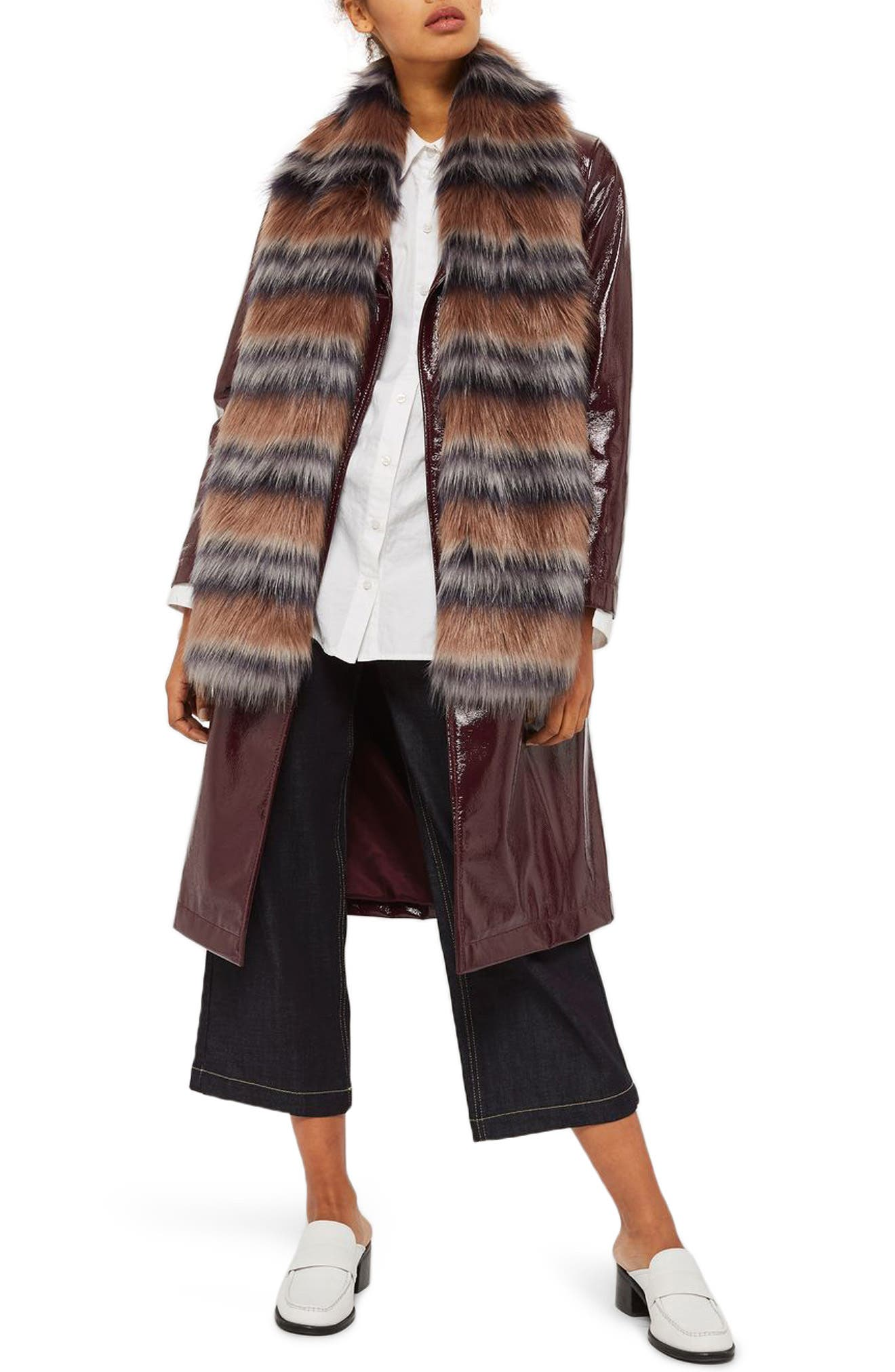 Tonal Stripe Faux Fur Scarf,                             Main thumbnail 1, color,                             Light Brown Multi