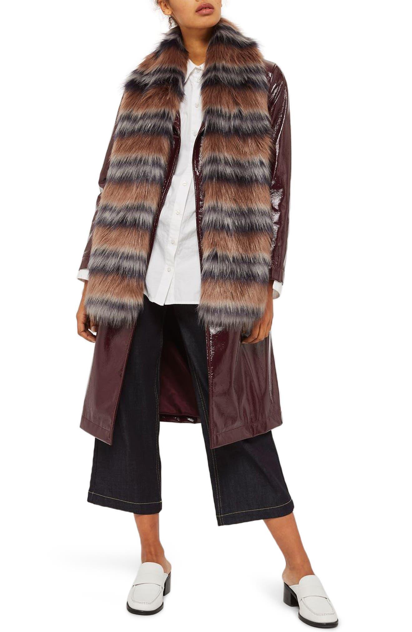 Tonal Stripe Faux Fur Scarf,                         Main,                         color, Light Brown Multi