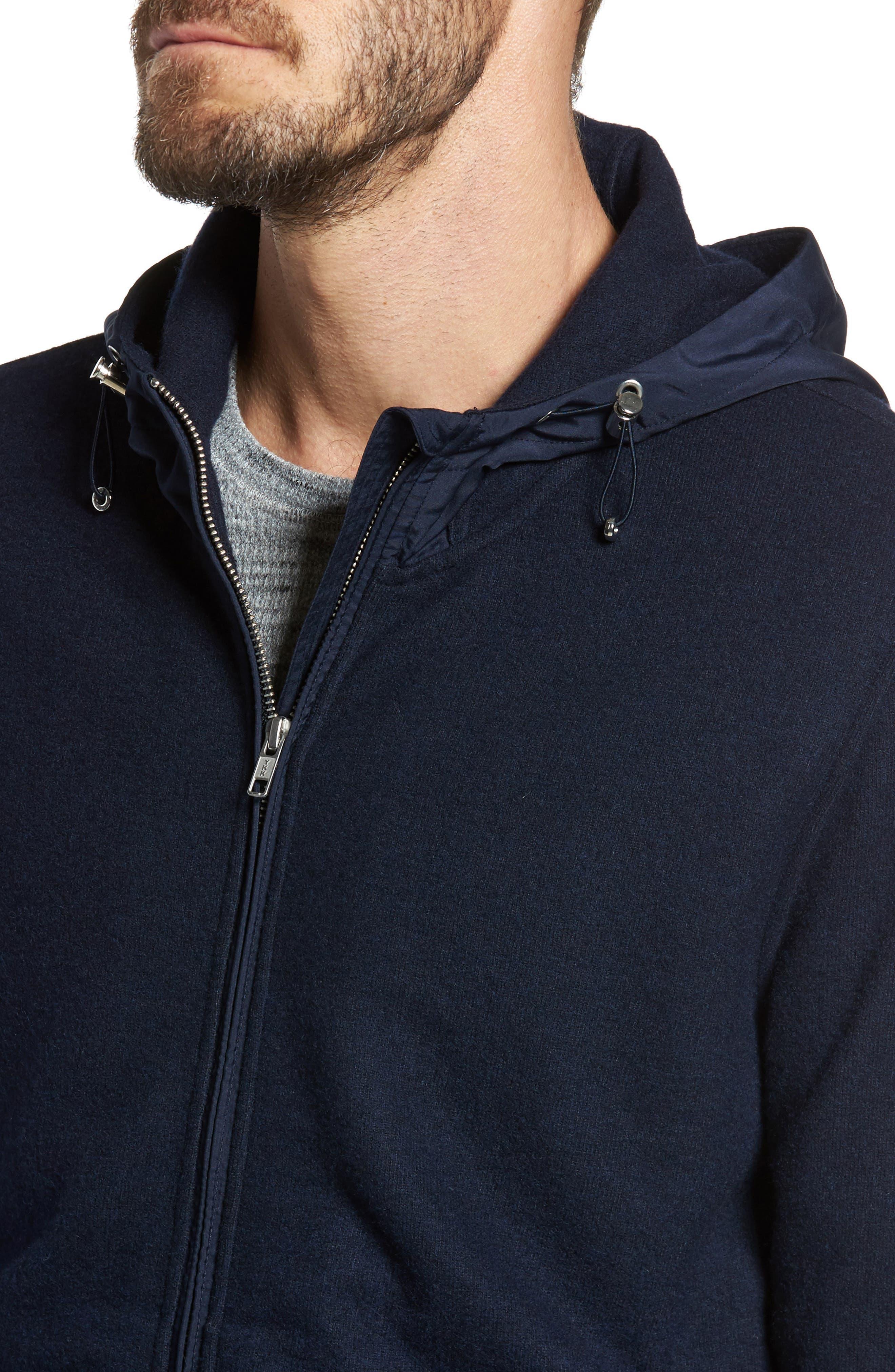 Wool Blend Hooded Cardigan,                             Alternate thumbnail 4, color,                             Navy Iris