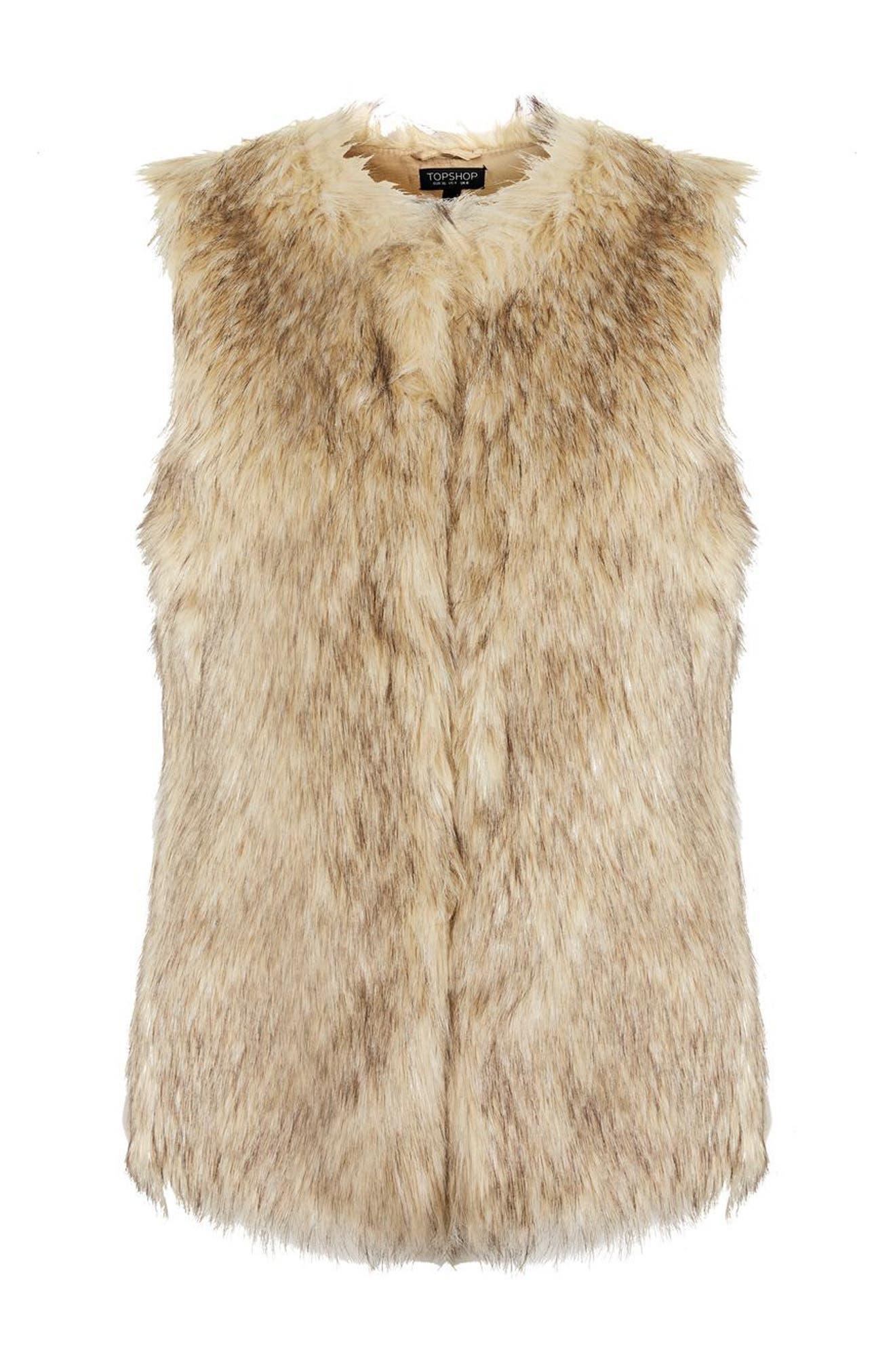 Faux Fur Vest,                             Alternate thumbnail 5, color,                             Brown