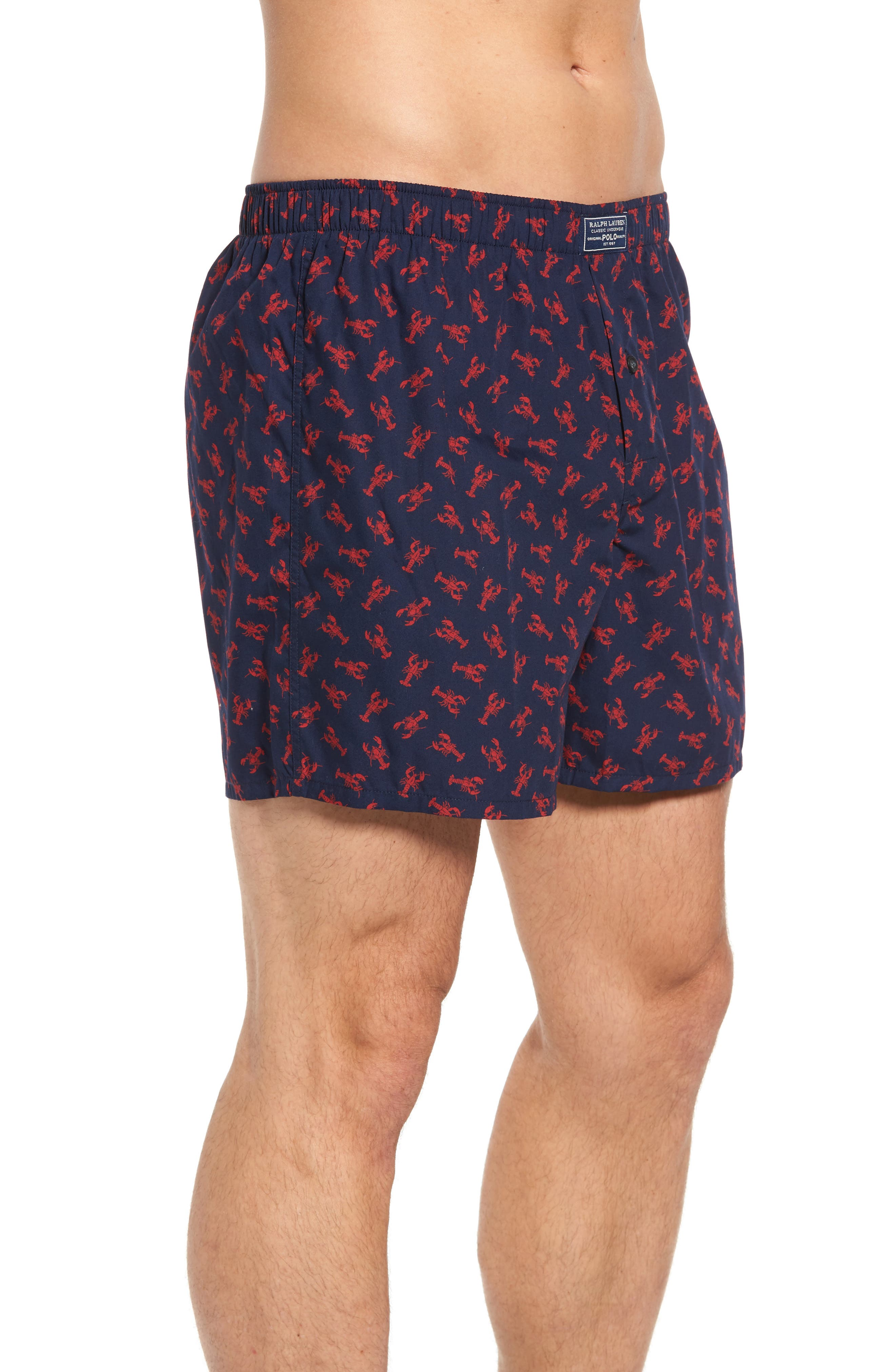 Classic Cotton Boxers,                             Alternate thumbnail 3, color,                             Cruise Navy Lobster