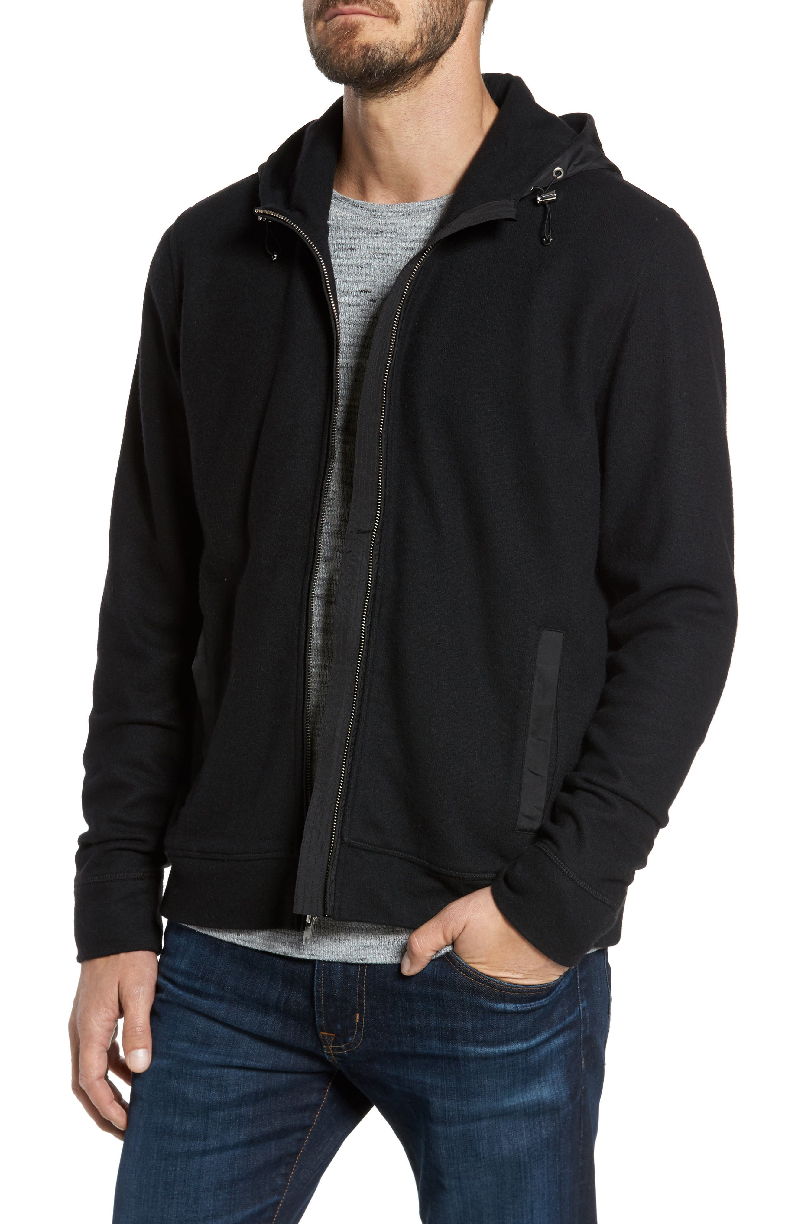 Main Image - Nordstrom Men's Shop Wool Blend Hooded Cardigan