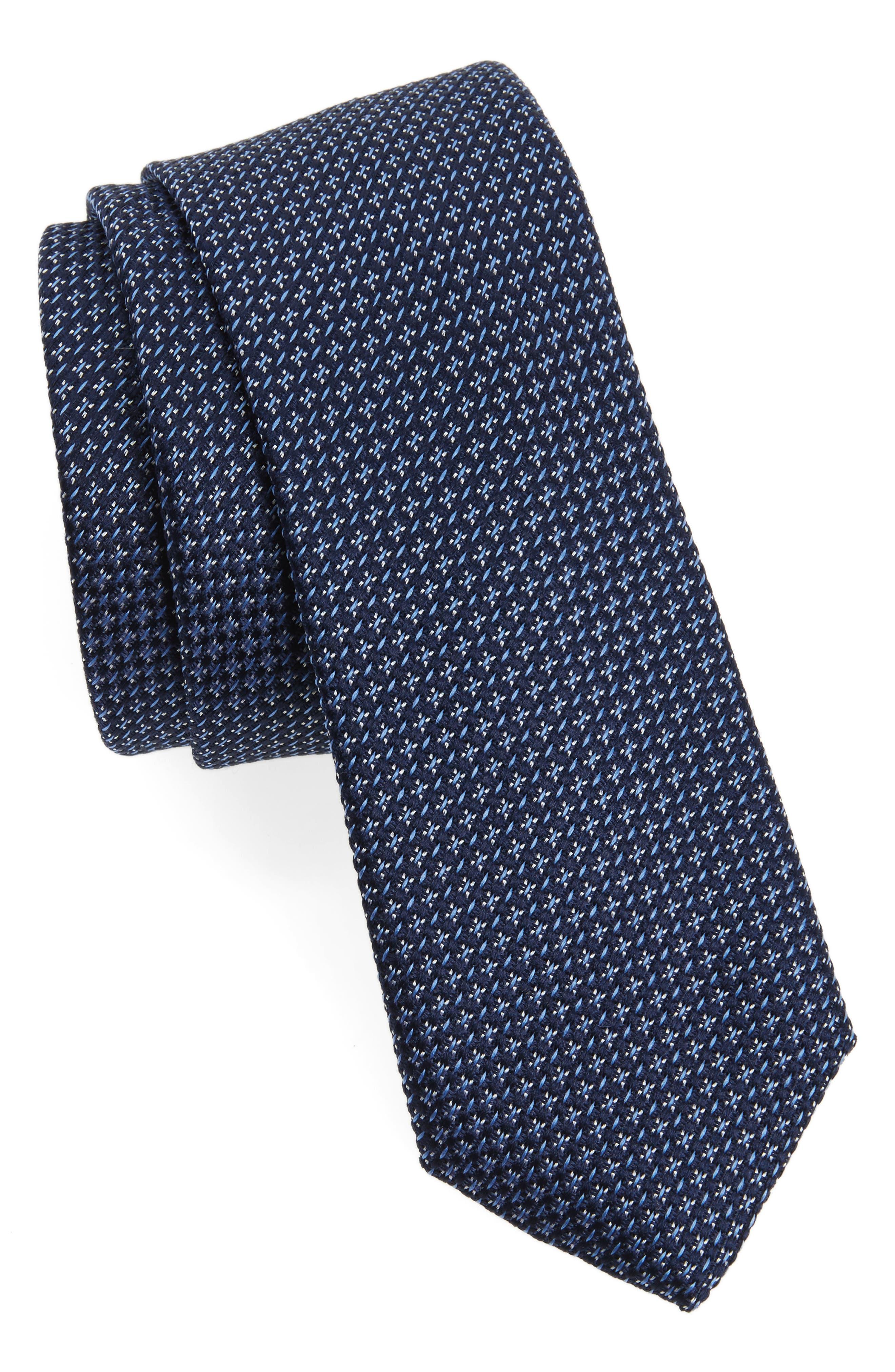 Knitex Solid Silk Tie,                         Main,                         color, Navy